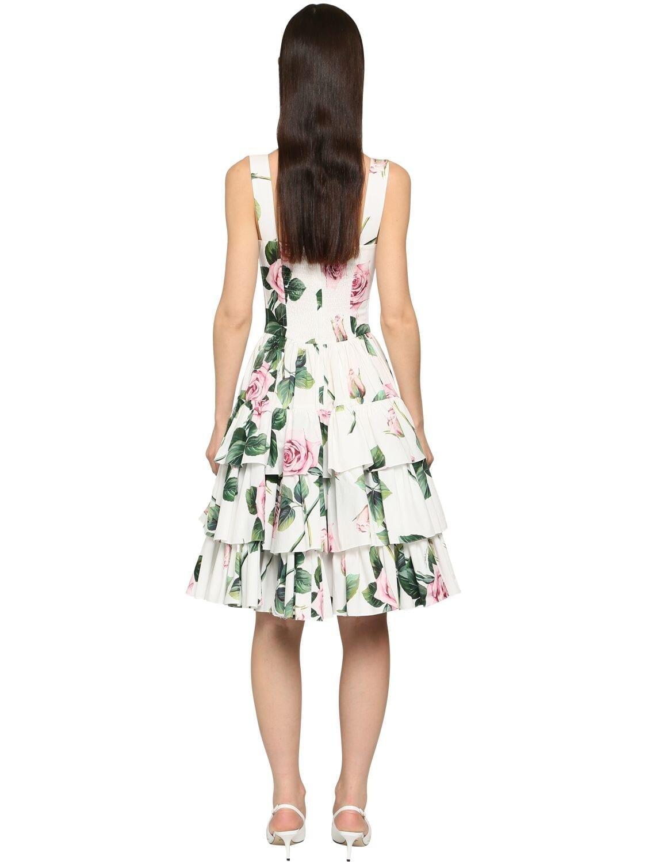 DOLCE & GABBANA Printed Cotton Poplin Flared Midi Dress