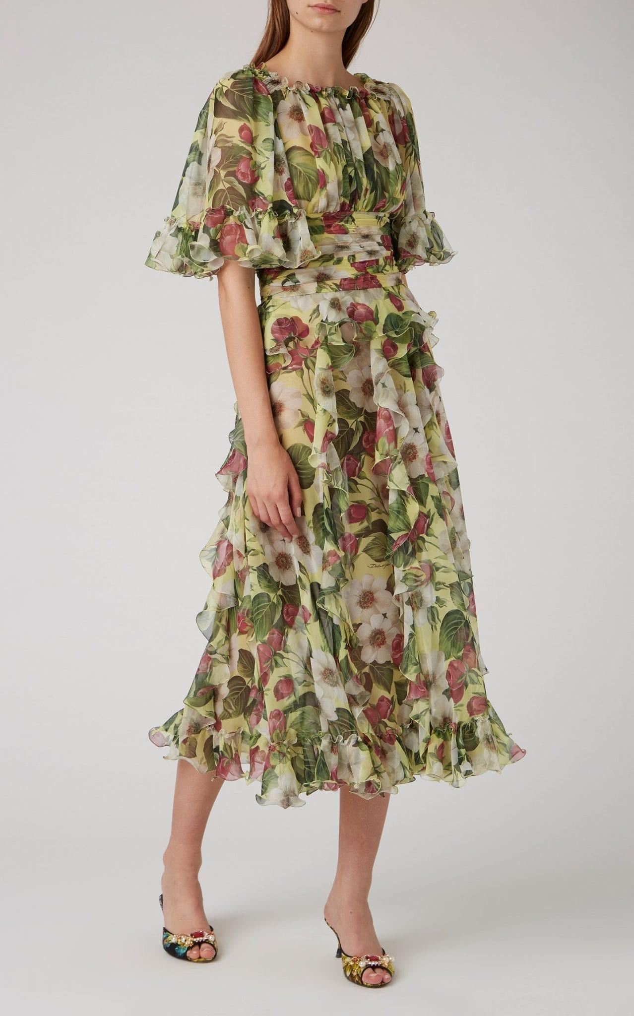 DOLCE & GABBANA Ruffled Floral-Print Silk Midi Dress