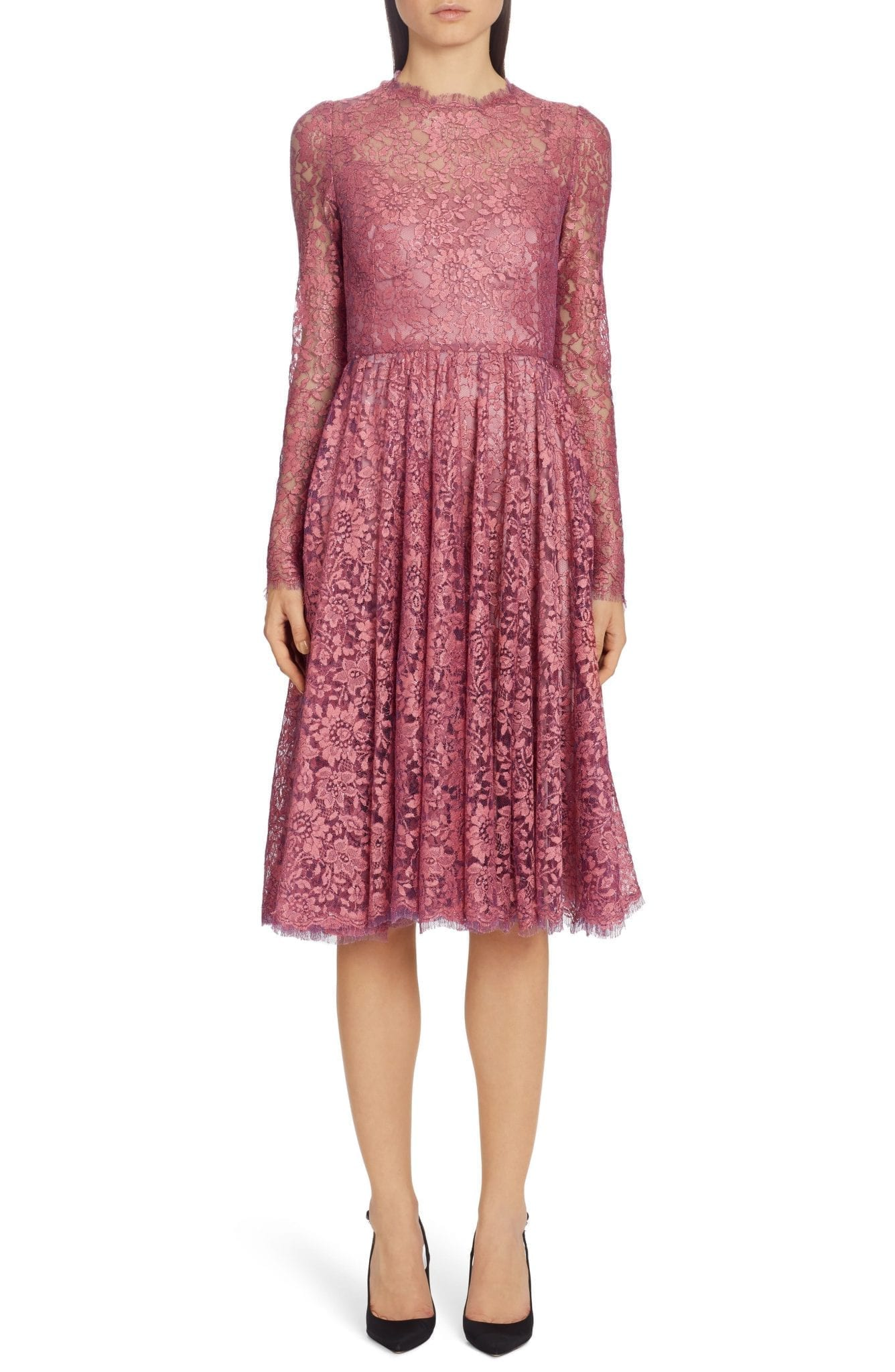 DOLCE&GABBANA Lamé Long Sleeve Chantilly Lace Dress