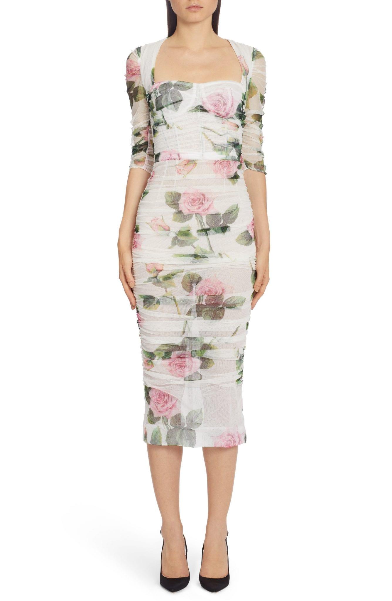 DOLCE&GABBANA Rose Print Ruched Tulle Midi Dress