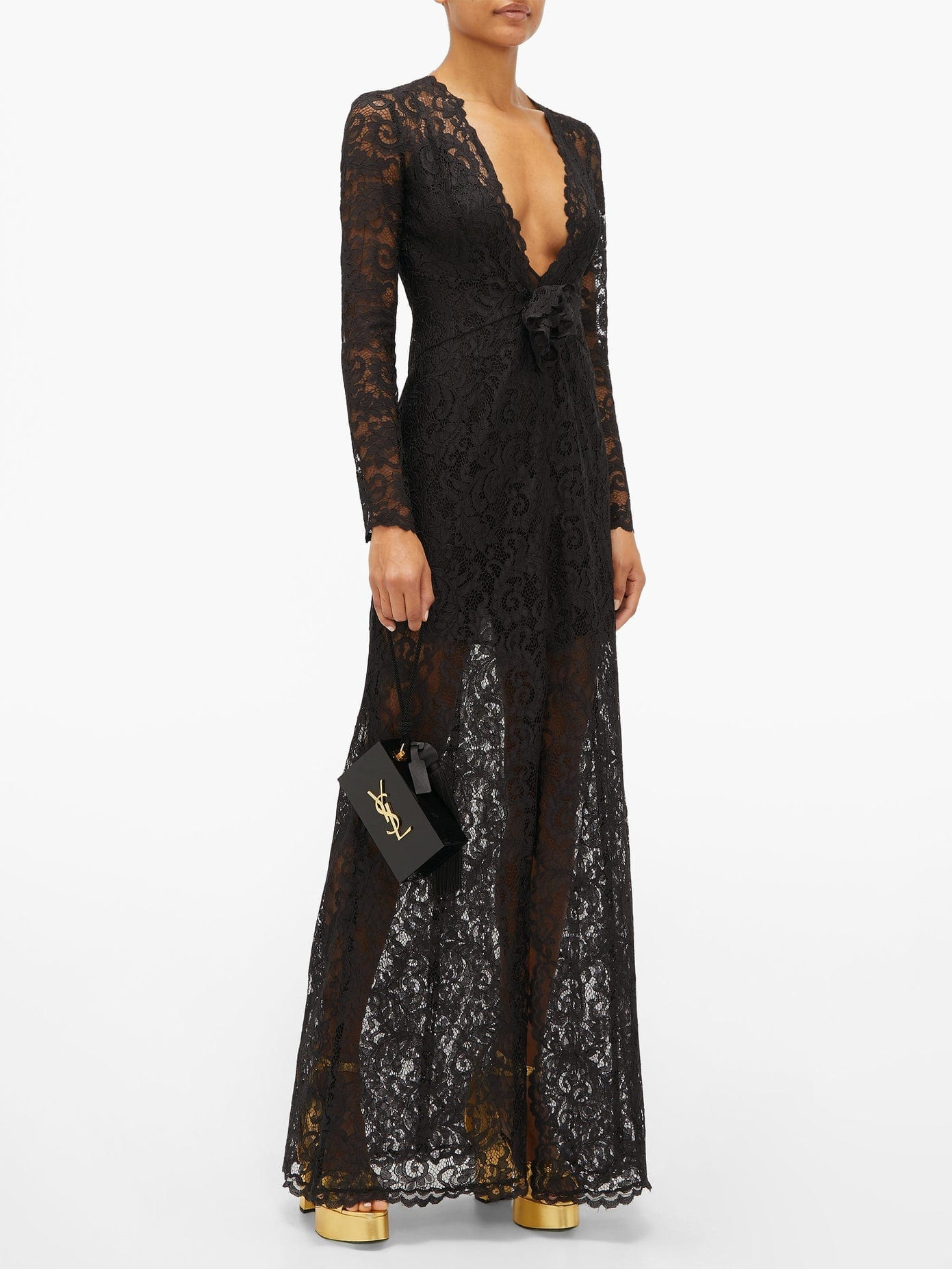 DUNDAS Plunge-neck Chantilly-lace Maxi Dress