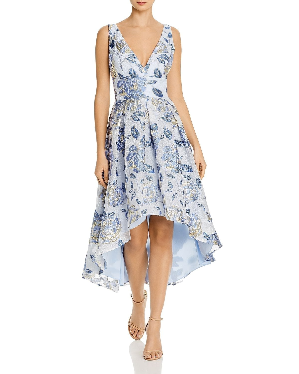 ELIZA J Metallic Floral High Low Dress