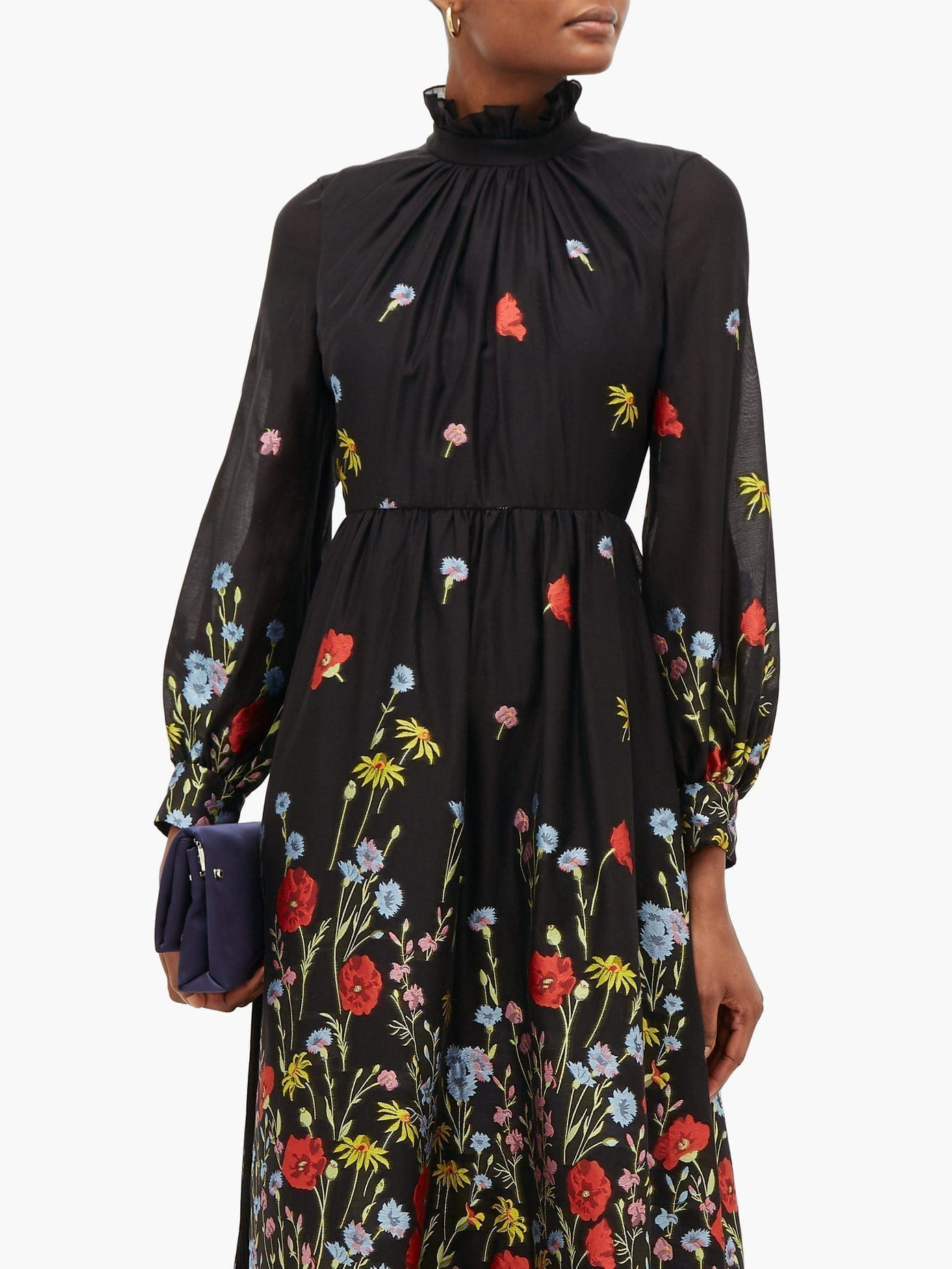 ERDEM Clementine Floral-Embroidered Organza Gown