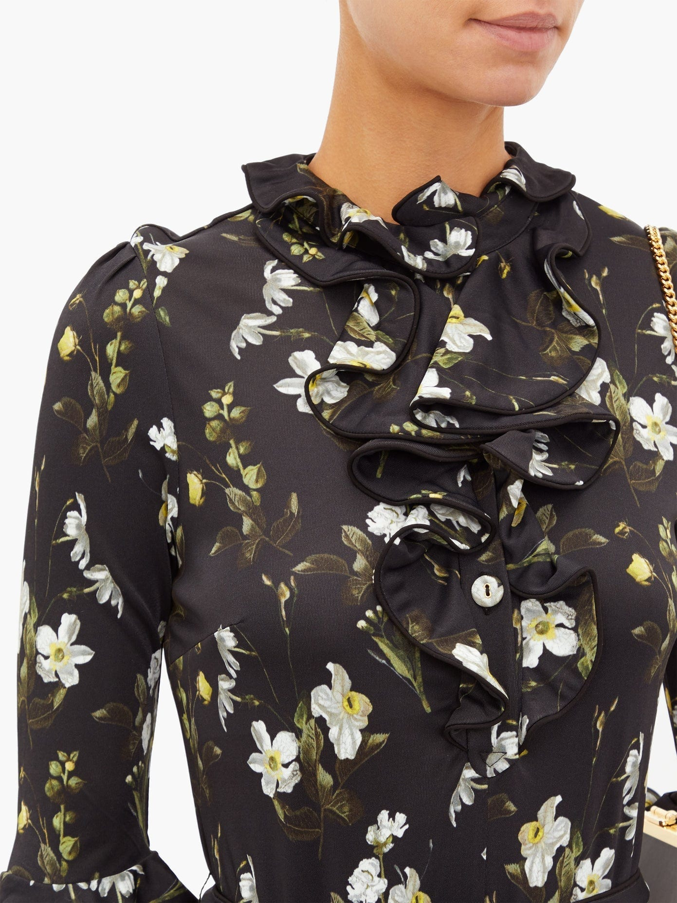 ERDEM Farrell Floral-print Satin-jersey Dress