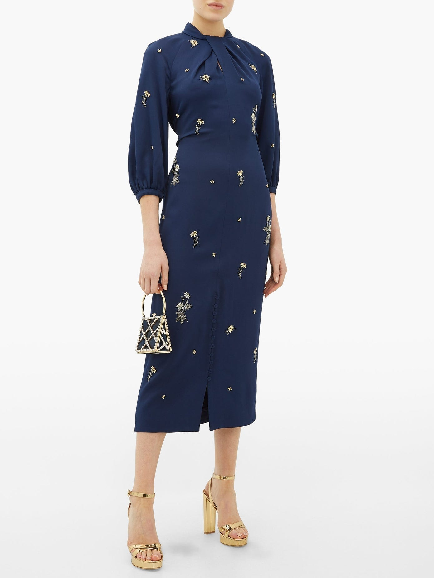 ERDEM Finnetta Beaded-flower Crepe Midi Dress