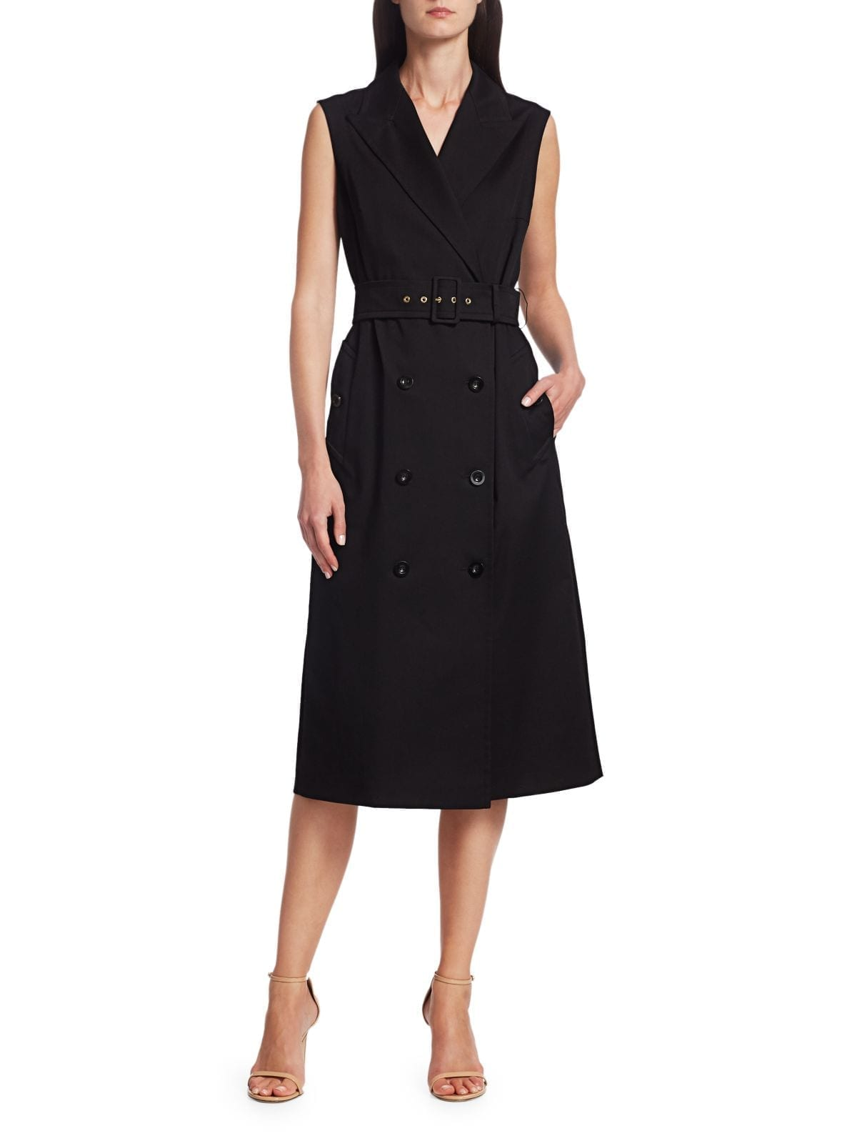 ESCADA Dehvida Sleeveless Double Breasted Twill Dress