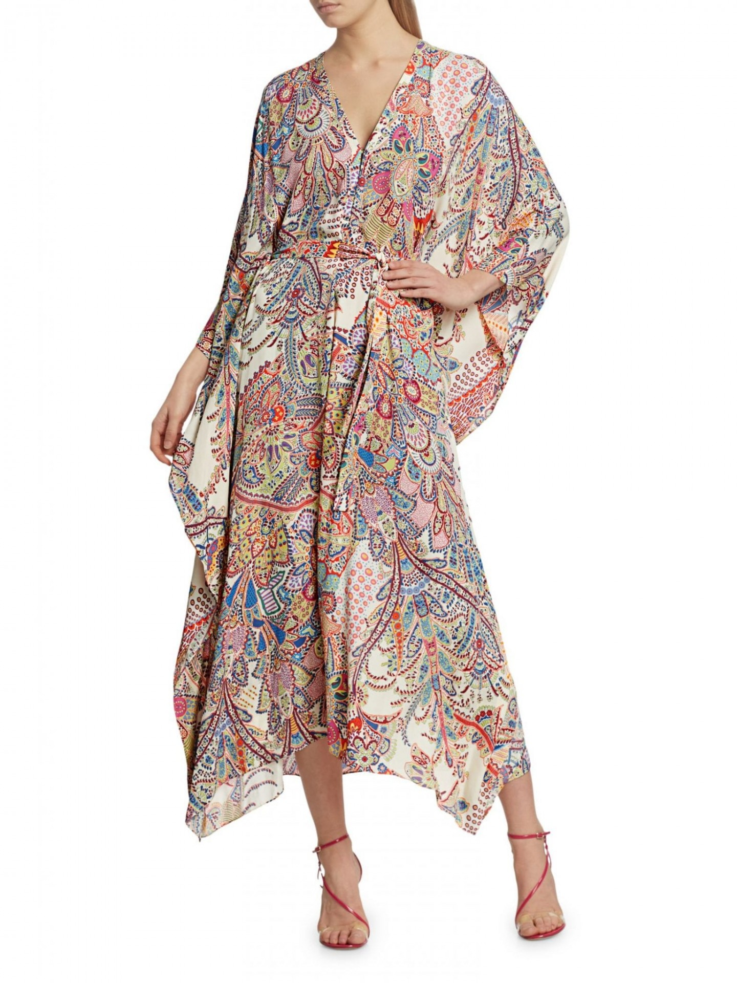 ETRO Allover Paisley Silk-Blend Belted Caftan Dress