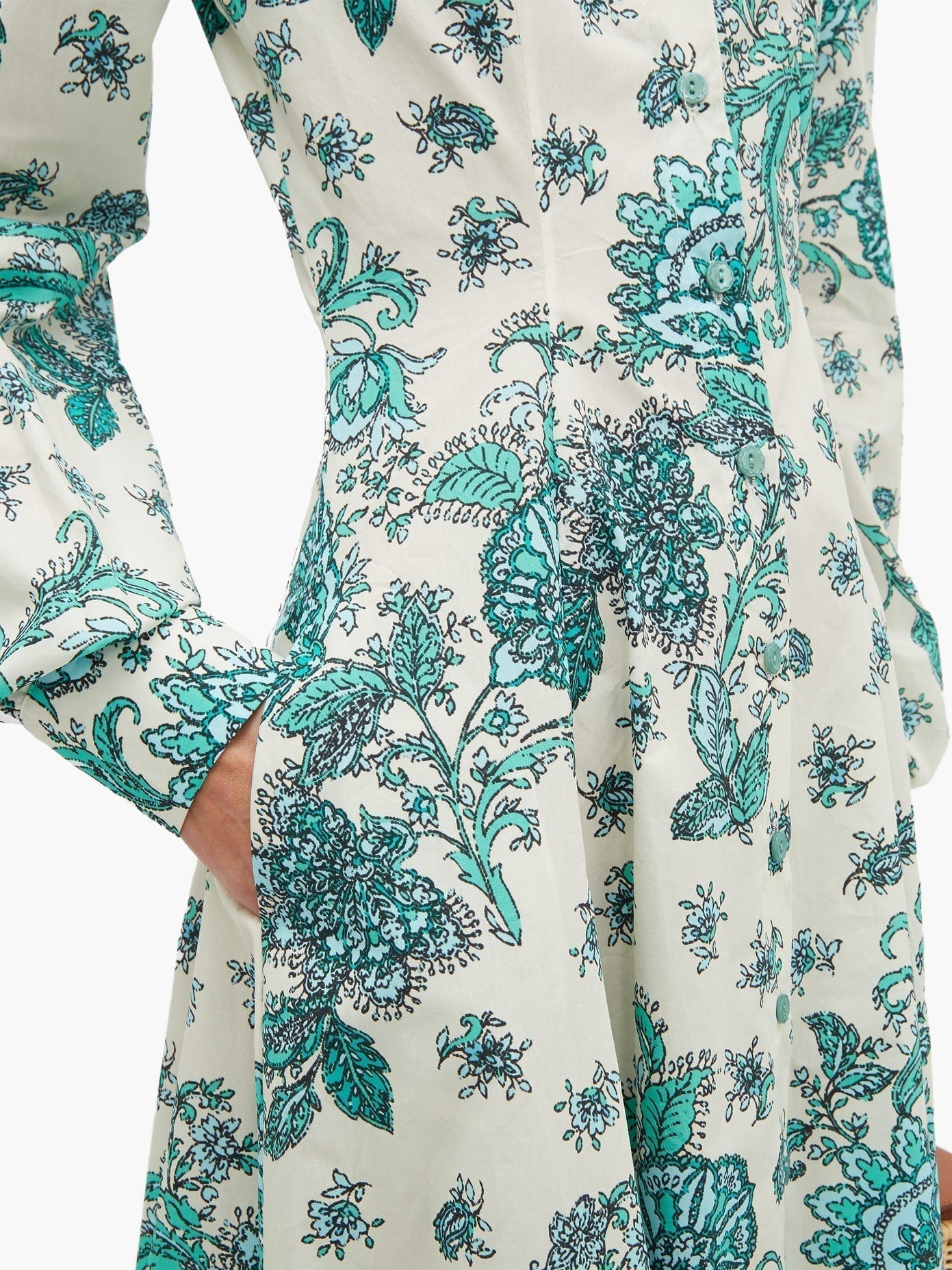 EVI GRINTELA Jasmine Floral-print Cotton Shirt Dress