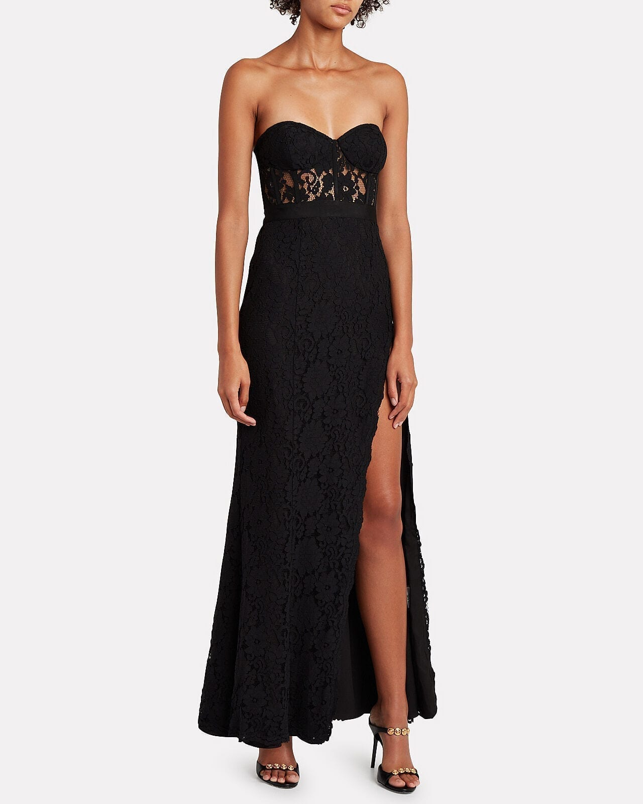 FAME & PARTNERS Mariposa Strapless Lace Gown