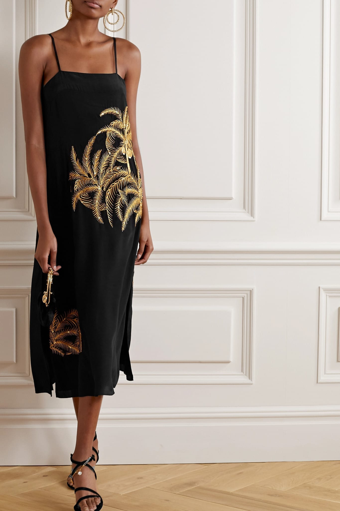 FIGUE Olatz Embellished Embroidered Crepe De Chine Midi Dress