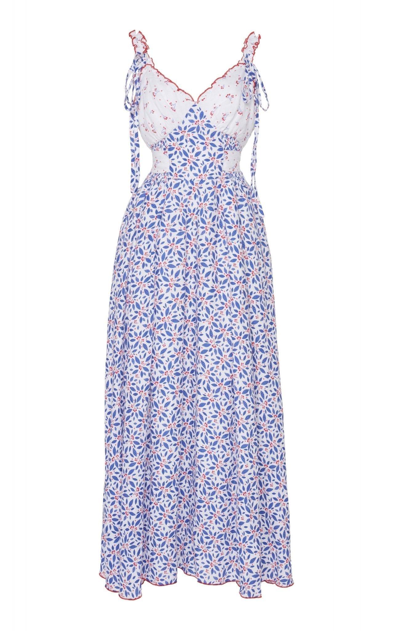 GÜL HÜRGEL Floral-Print Linen Midi Dress