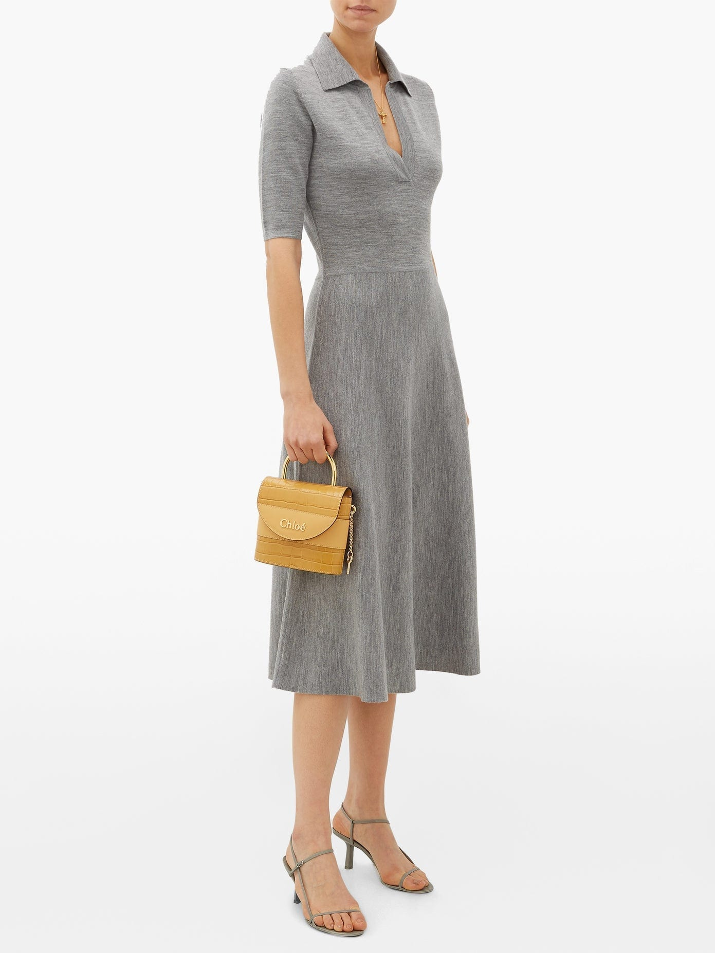 GABRIELA HEARST Bourgeois Collared Wool-Blend Midi Dress
