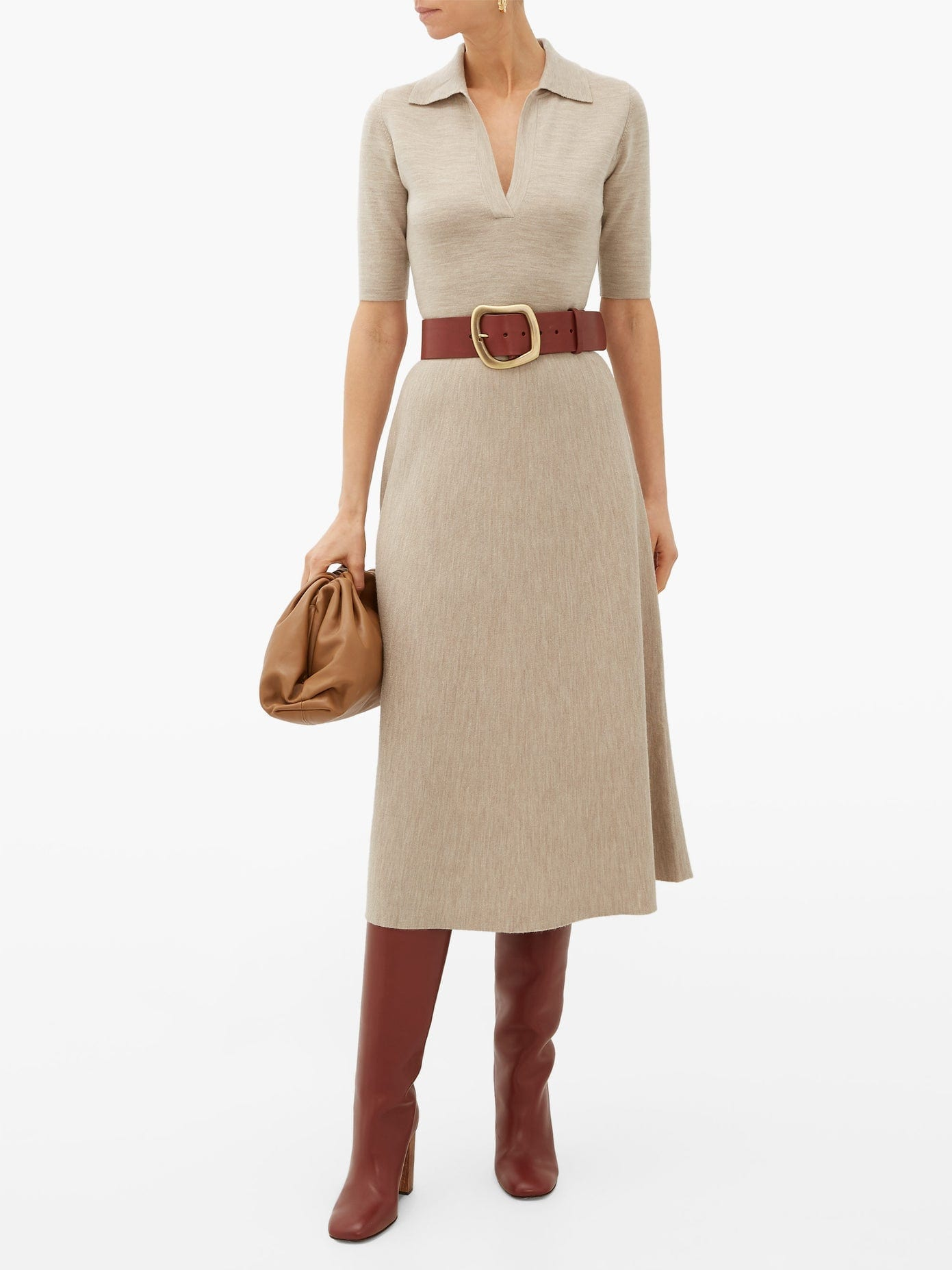 GABRIELA HEARST Bourgeois Wool-blend Midi Dress