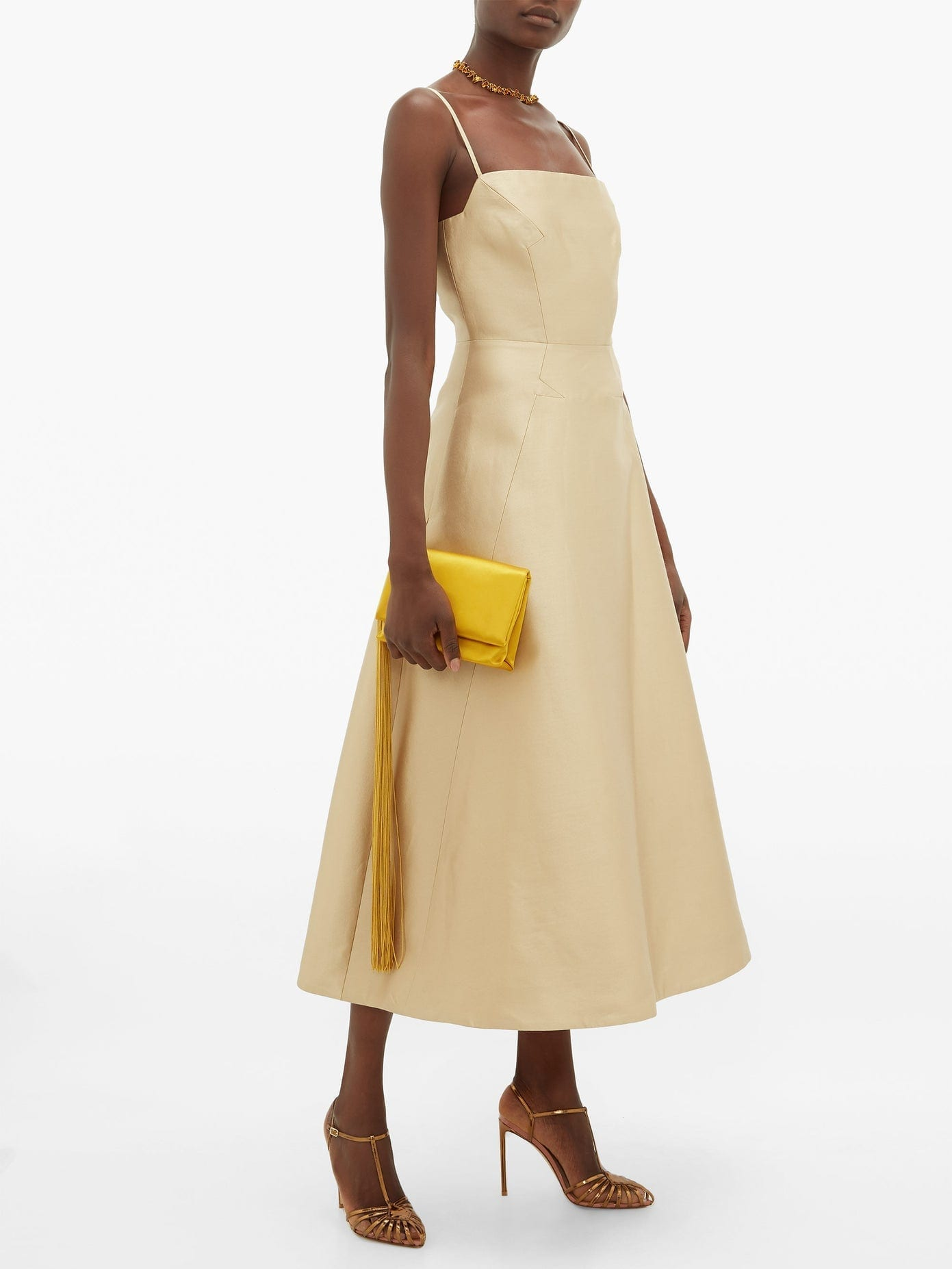 GABRIELA HEARST Meghan Square-neck Wool-blend Midi Dress