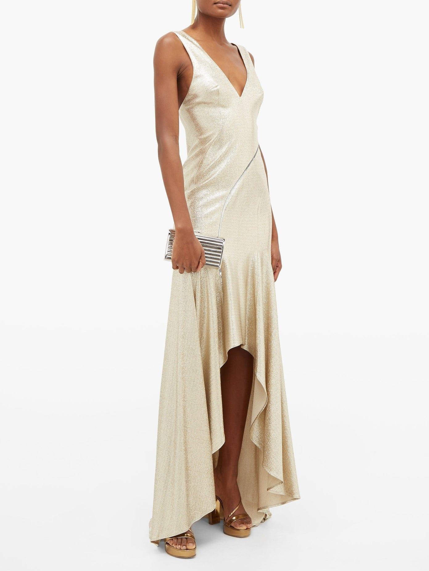 GALVAN Releve Asymmetric Lurex Gown