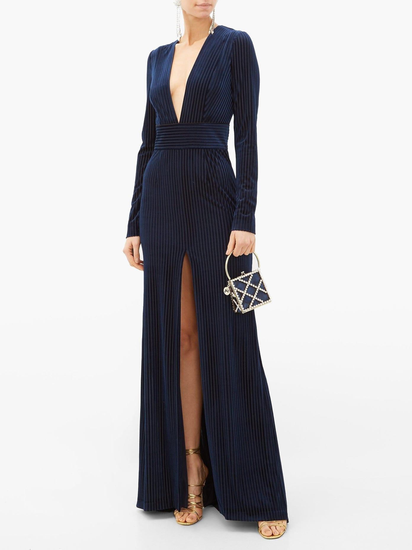 GALVAN Stardust Striped Devoré Velvet Gown