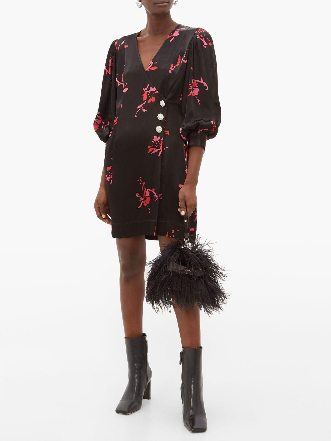 GANNI Crystal-Embellished Floral-Print Satin Wrap Dress
