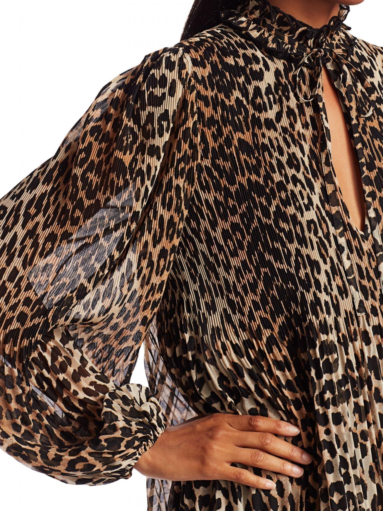 GANNI Georgette Leopard Mini Shirt Dress