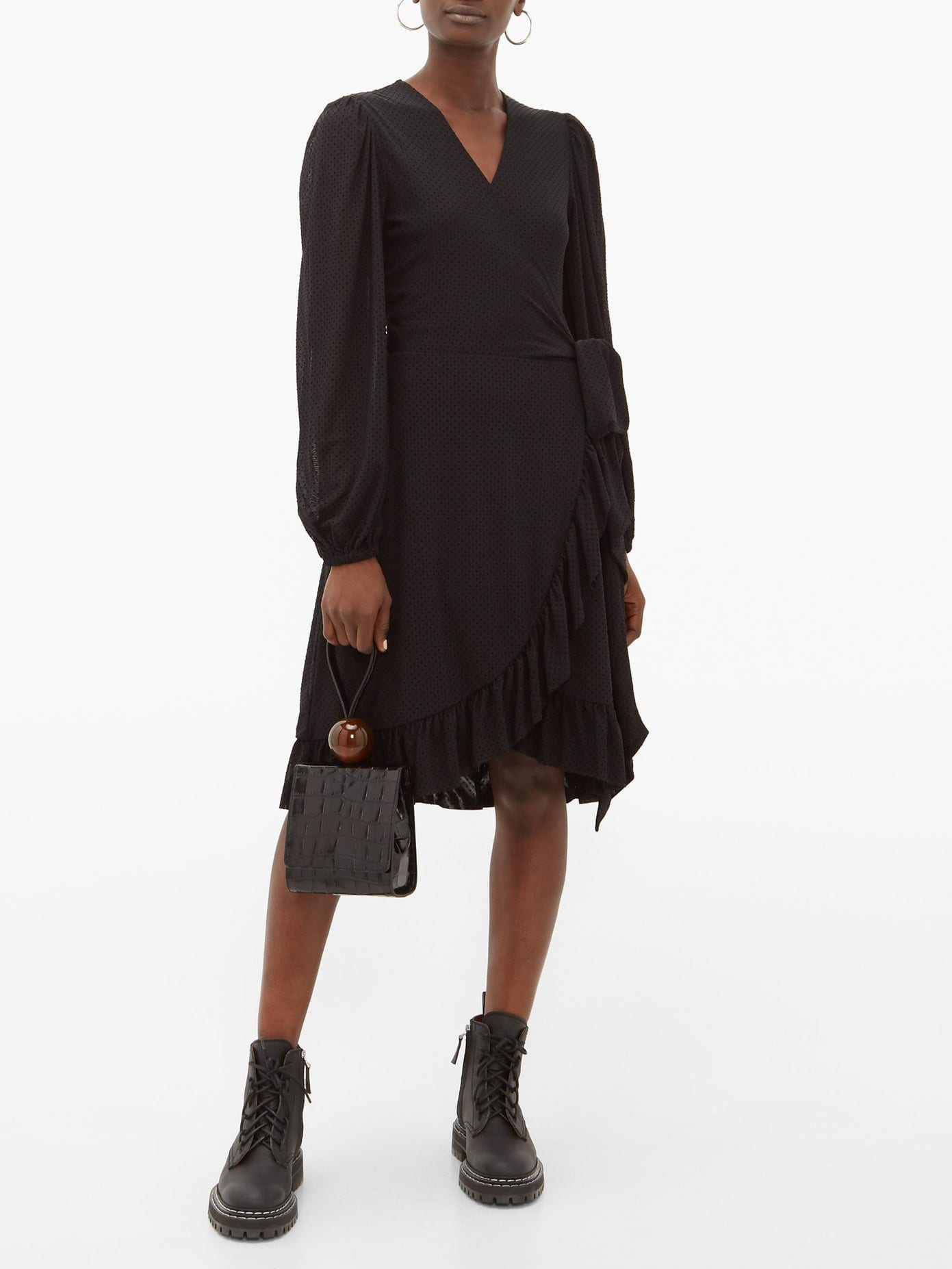 GANNI Polka-Dot Mesh Wrap Dress