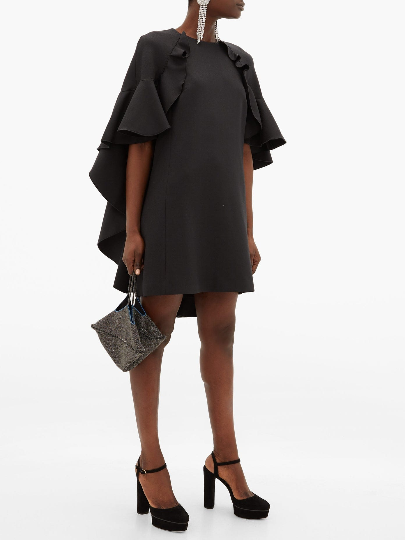 GIAMBATTISTA VALLI Cape Back Cotton-blend Crepe Dress
