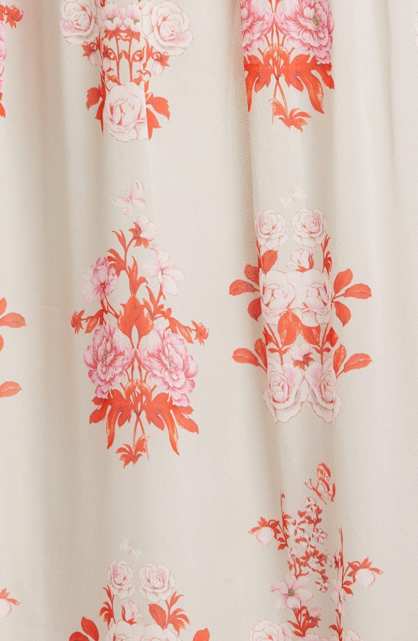 GIAMBATTISTA VALLI Floral Print Long Sleeve Silk Georgette Gown