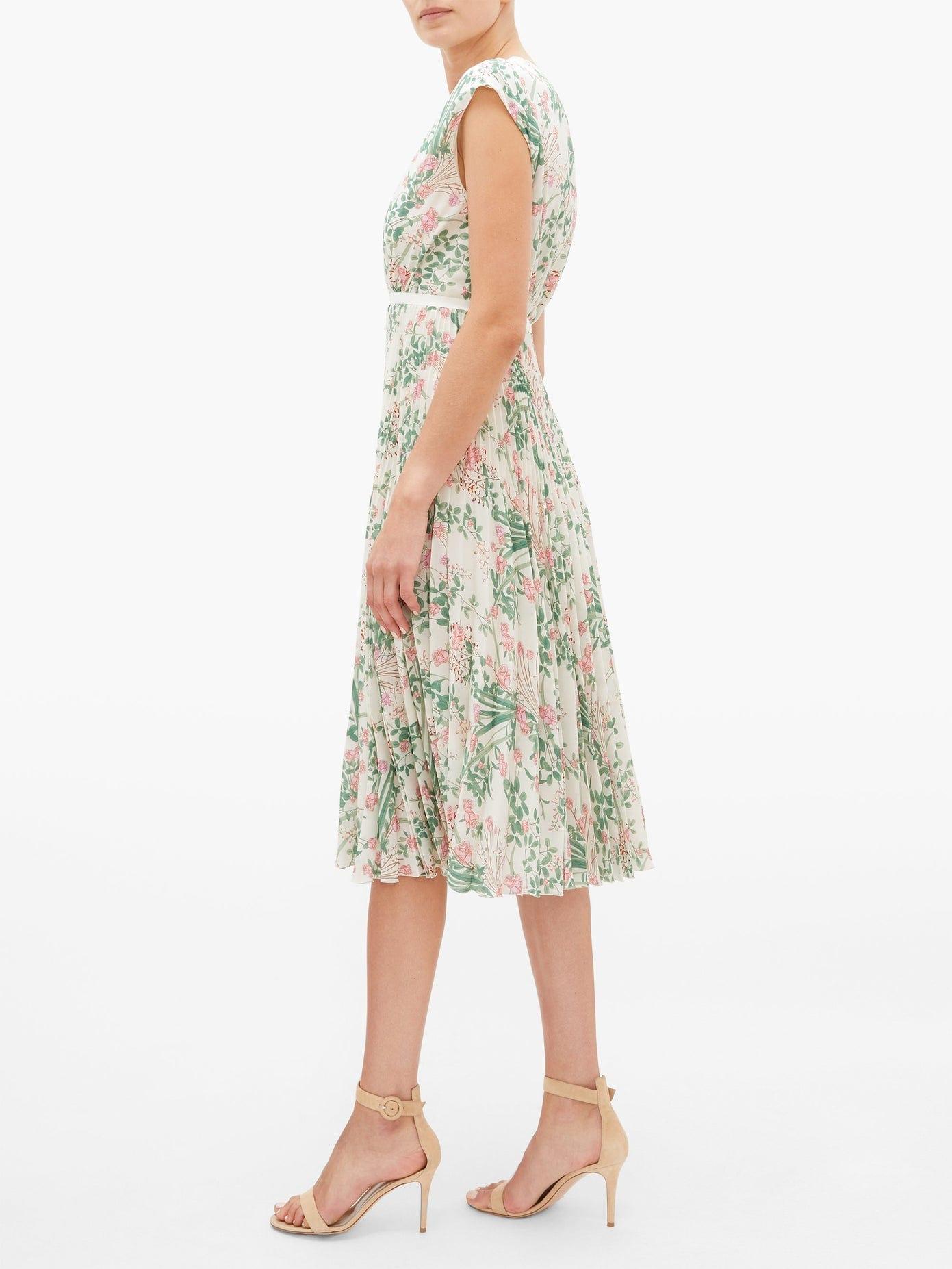 GIAMBATTISTA VALLI Floral-Print Pleated Silk-Crepe Dress