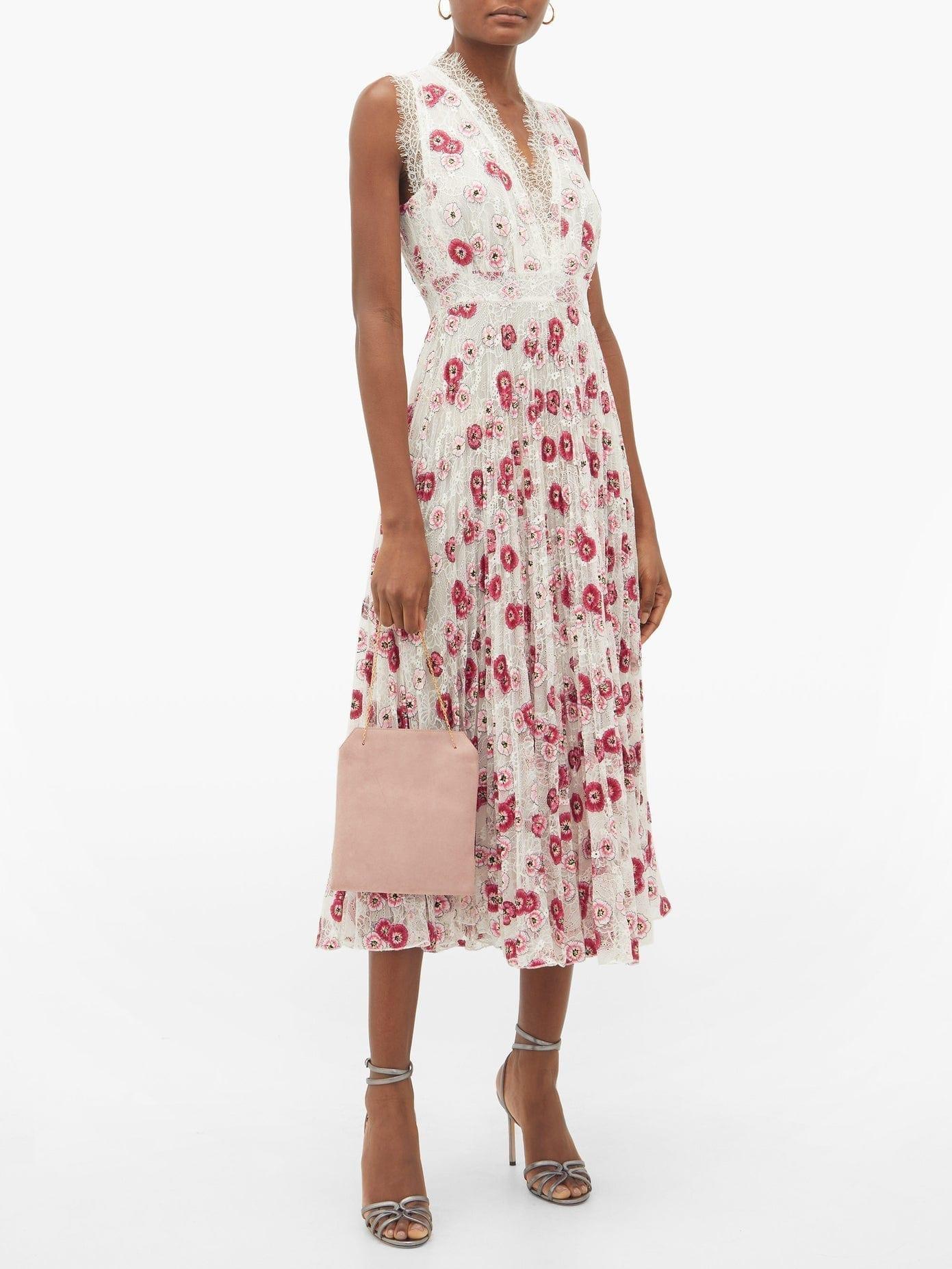 GIAMBATTISTA VALLI Floral-embroidered Chantilly-lace Midi Dress