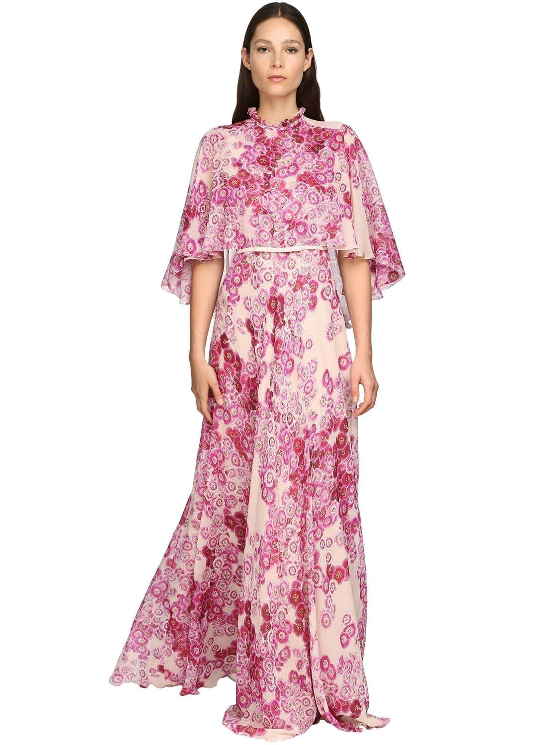 GIAMBATTISTA VALLI Flower Print Silk Georgette Long Dress