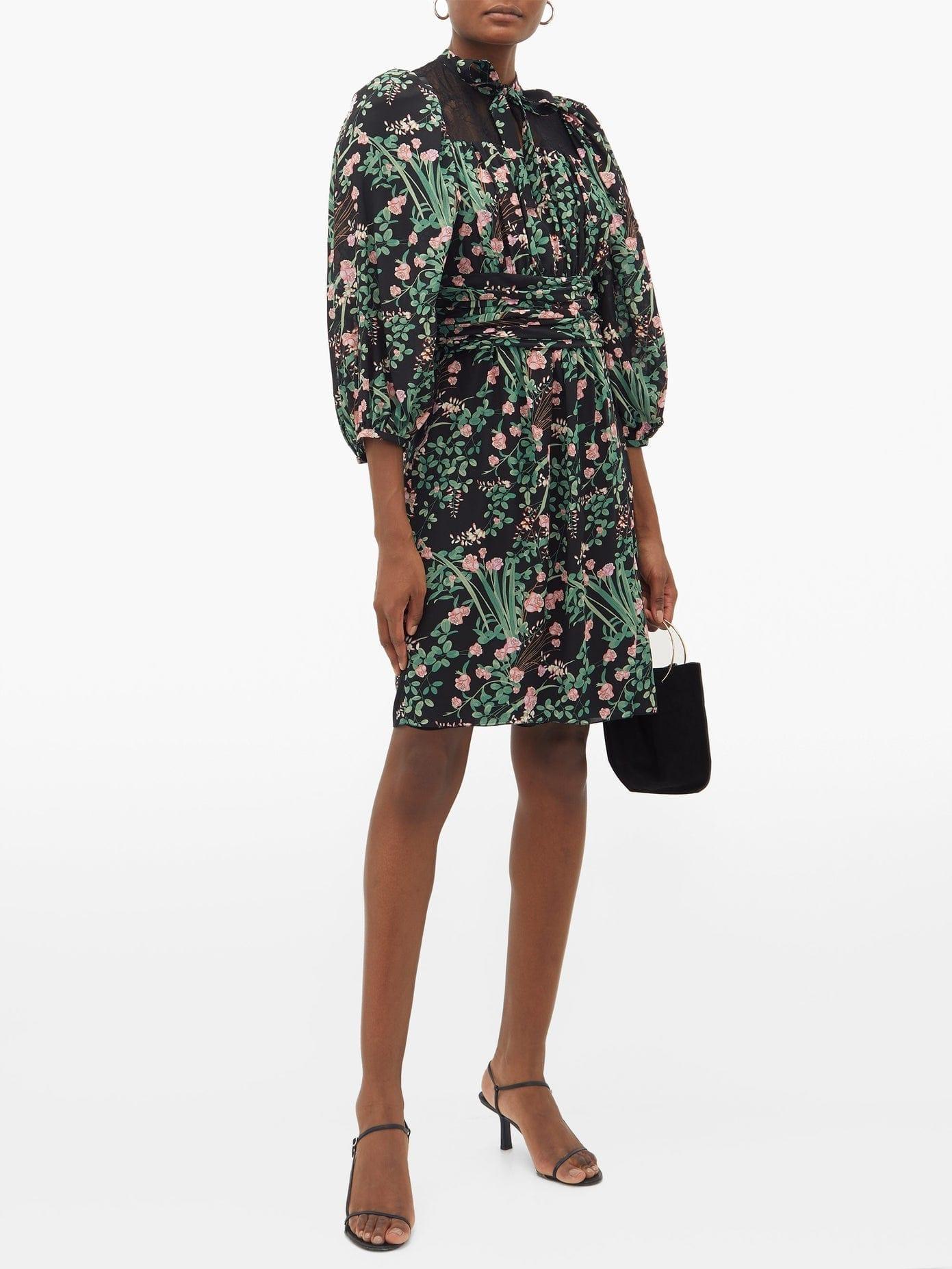GIAMBATTISTA VALLI Pussy-bow Lace-trimmed Floral-print Silk Dress