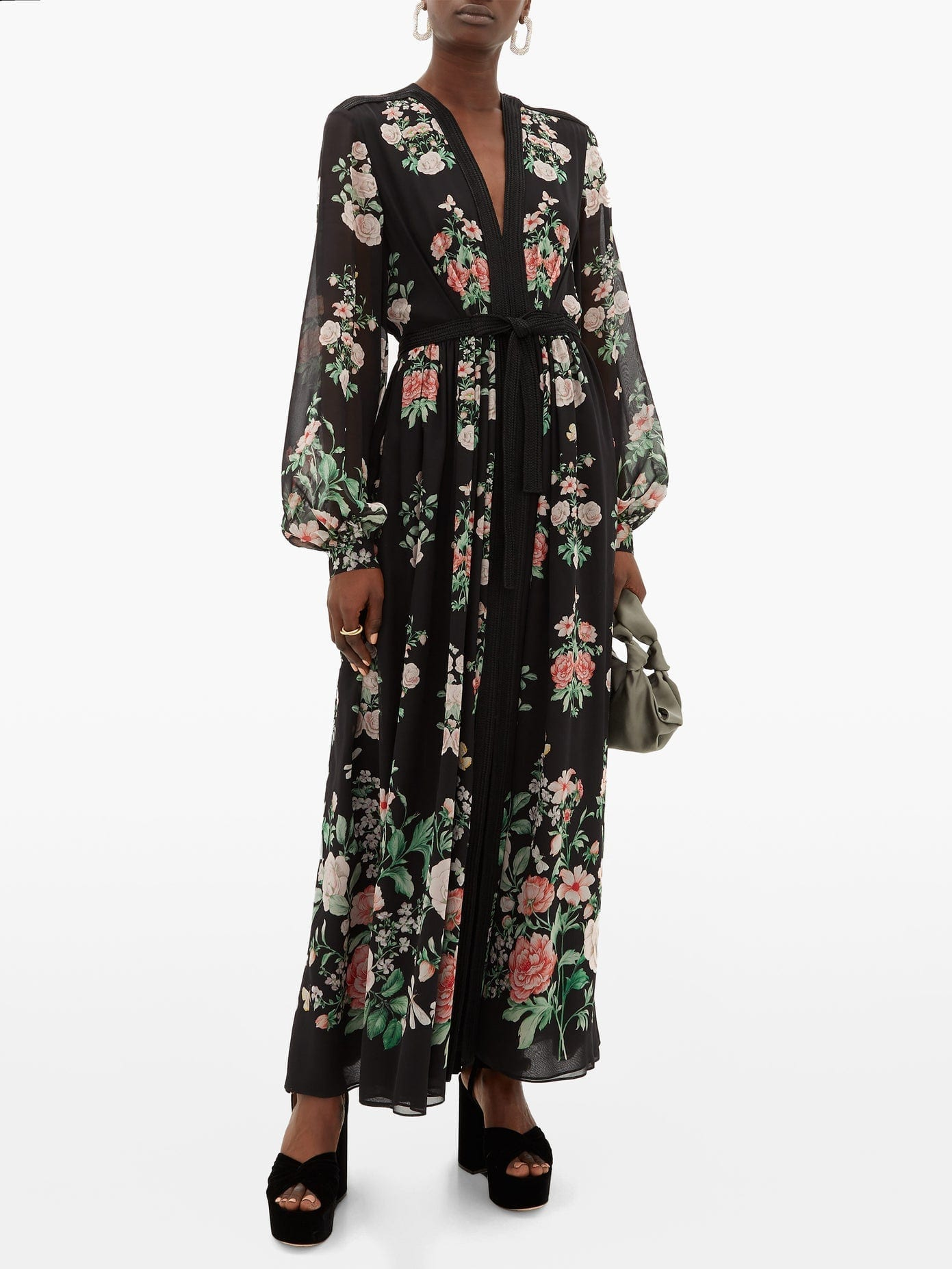 GIAMBATTISTA VALLI Rope-trimmed Floral-print Silk Maxi Dress