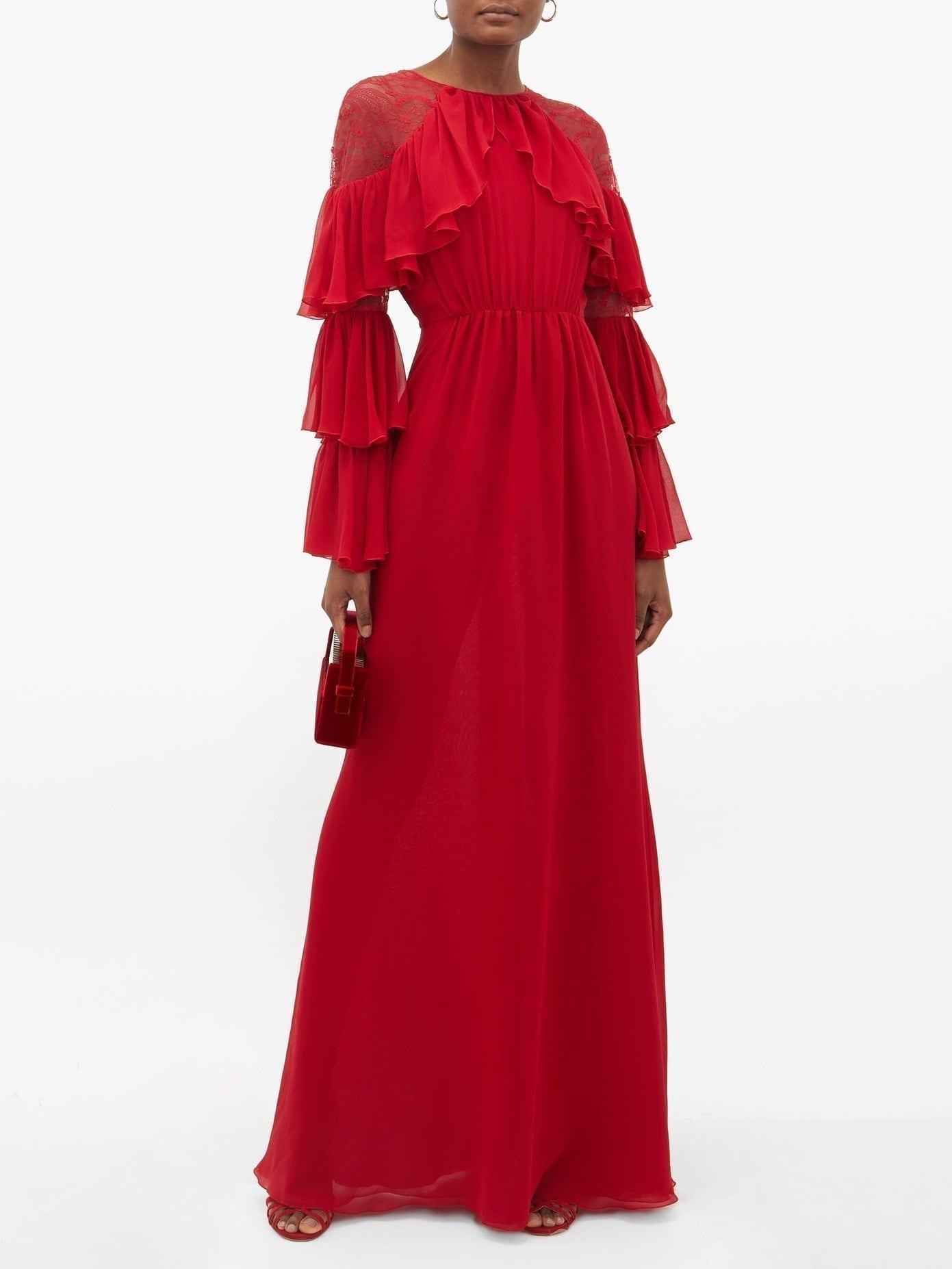 GIAMBATTISTA VALLI Ruffled Lace-trimmed Silk-georgette Gown
