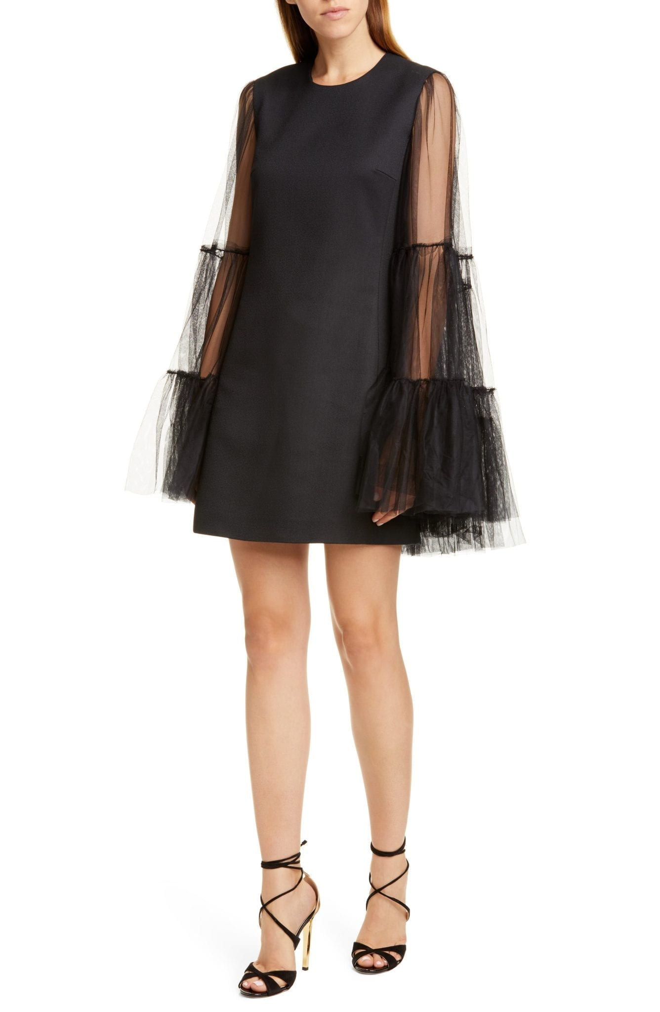 GIAMBATTISTA VALLI Tulle Cape Overlay Mini Dress