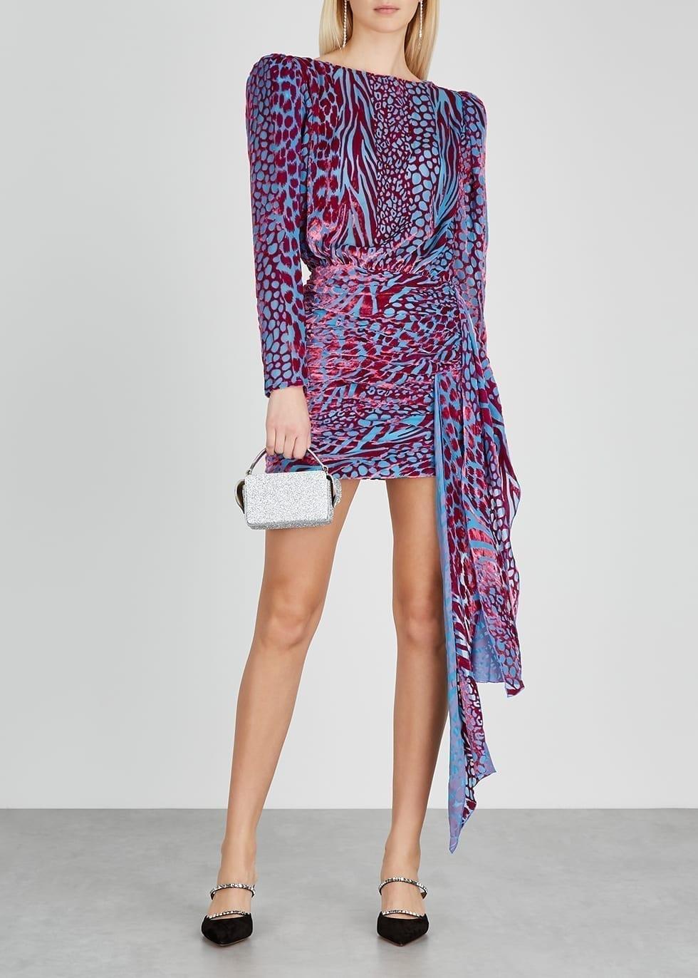 GIUSEPPE DI MORABITO Blue And Pink Animal-devoré Mini Dress