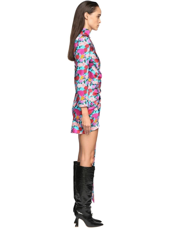 GIUSEPPE DI MORABITO Flower Print Stretch Silk Mini Dress