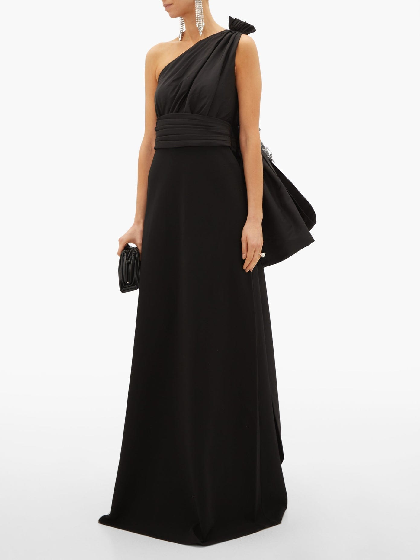 GUCCI Asymmetric Bow-embellished Silk And Jersey Gown