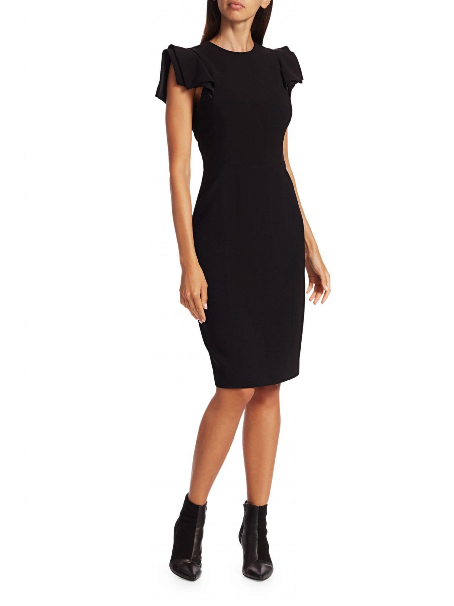 HALSTON Ruffle Slim-Fit Dress