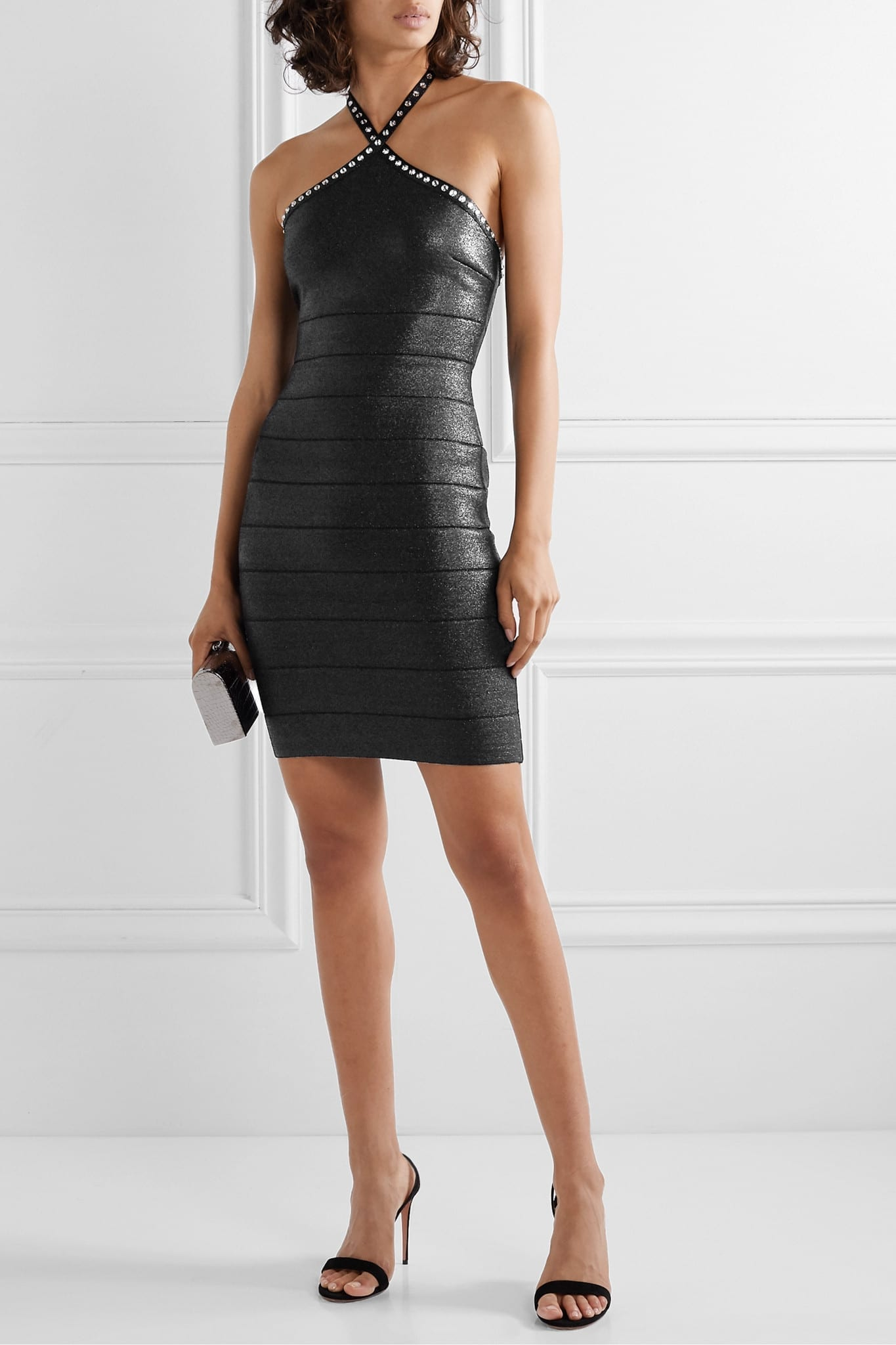 HERVÉ LÉGER Swarovski Crystal-embellished Metallic Bandage Halterneck Mini Dress