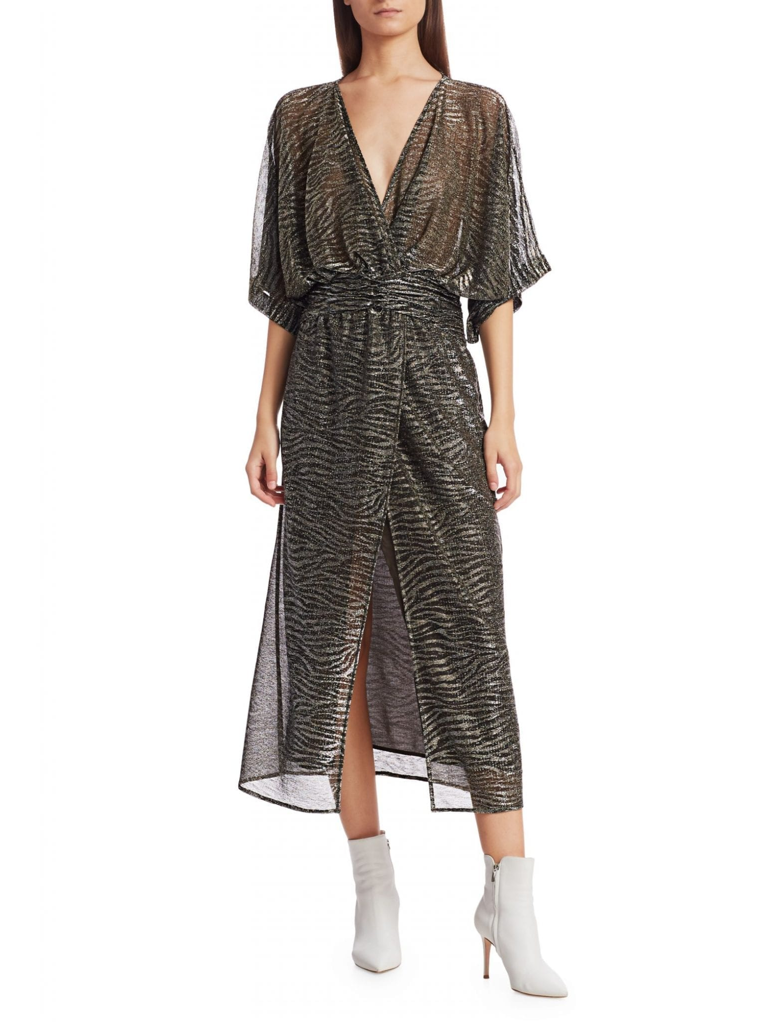 IRO Volsun Metallic Midi Dress