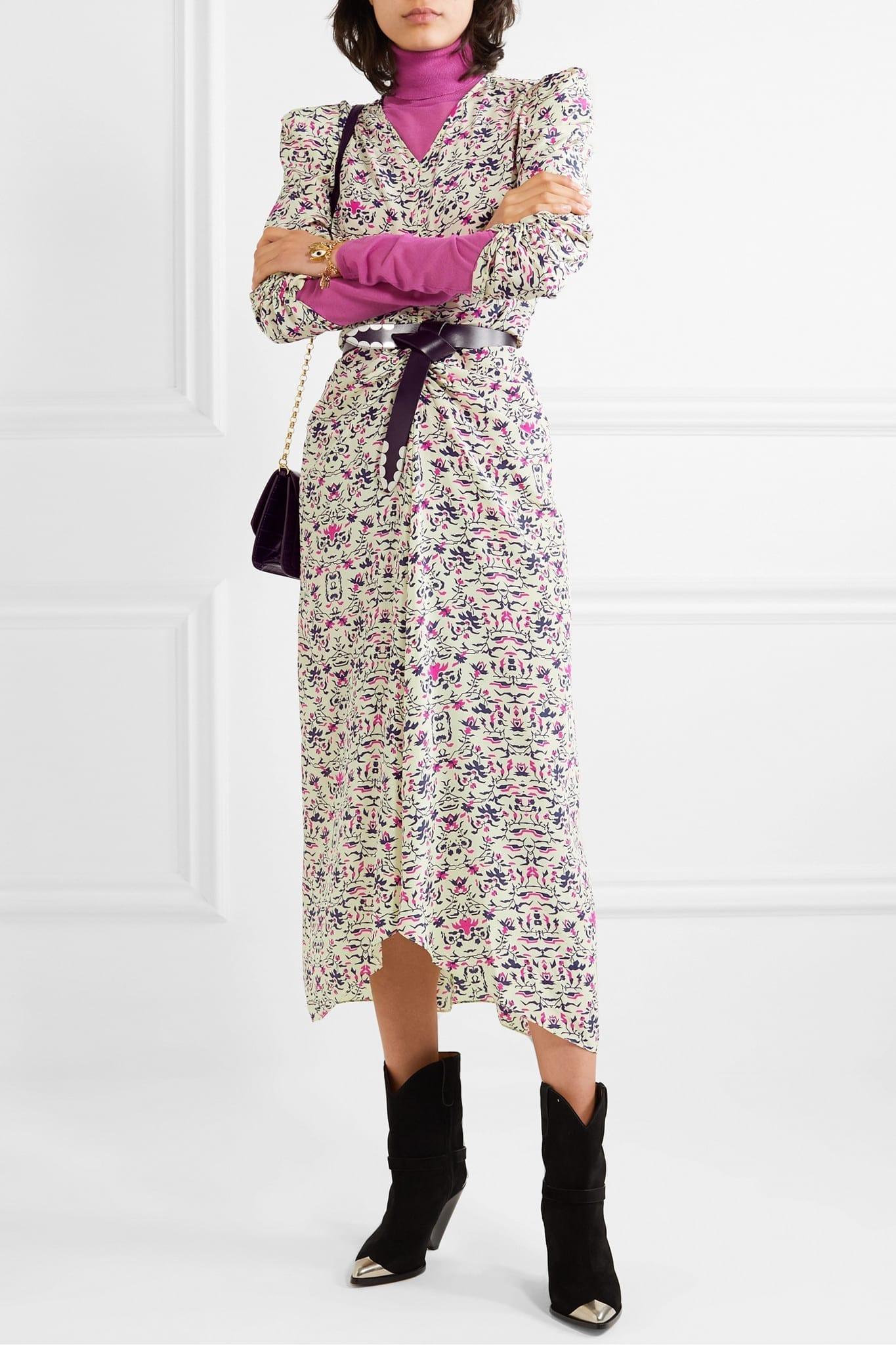 ISABEL MARANT Albi Draped Printed Silk Crepe De Chine Midi Dress