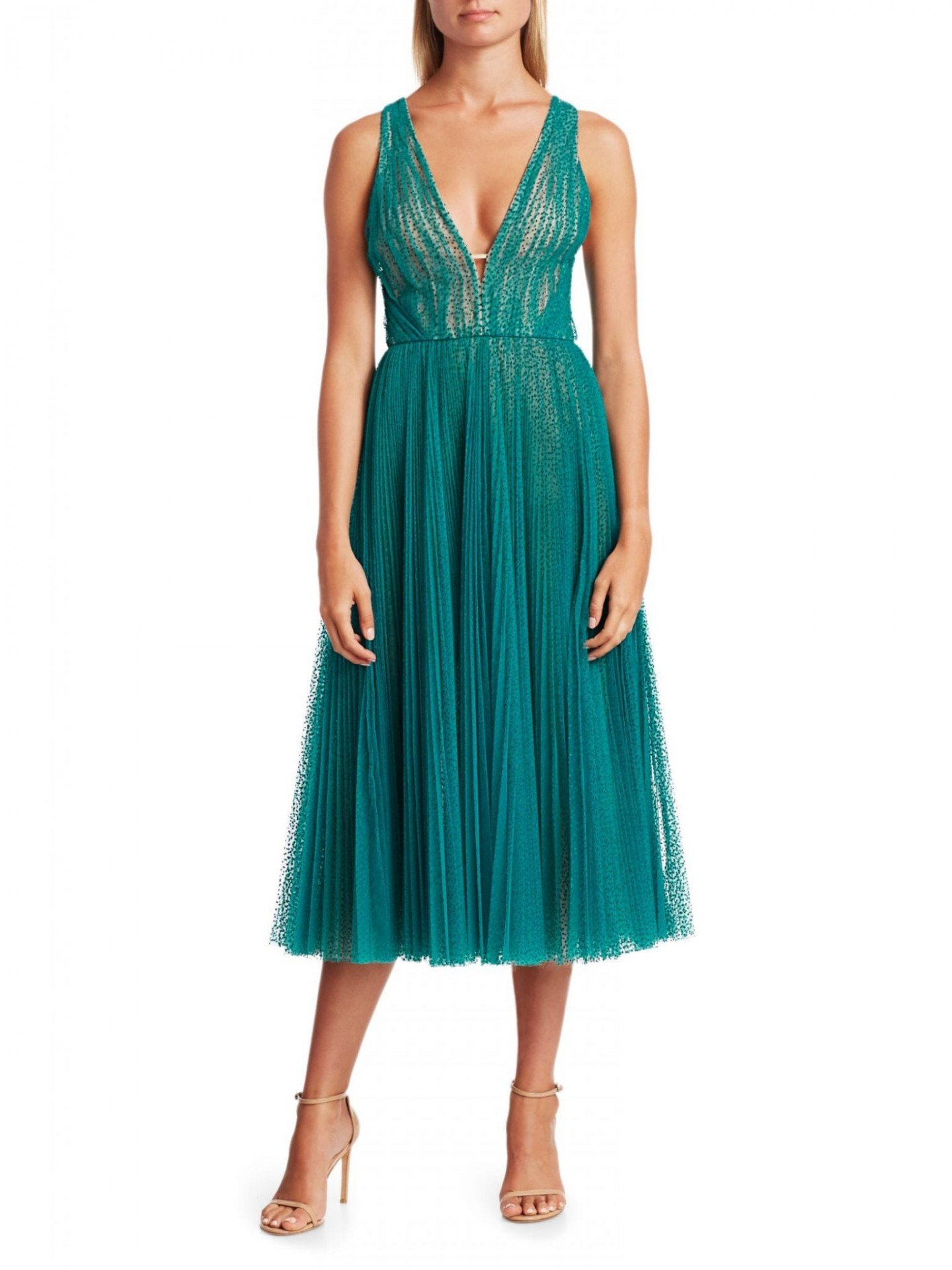 J. MENDEL Swiss Dot Pleated Cocktail Dress