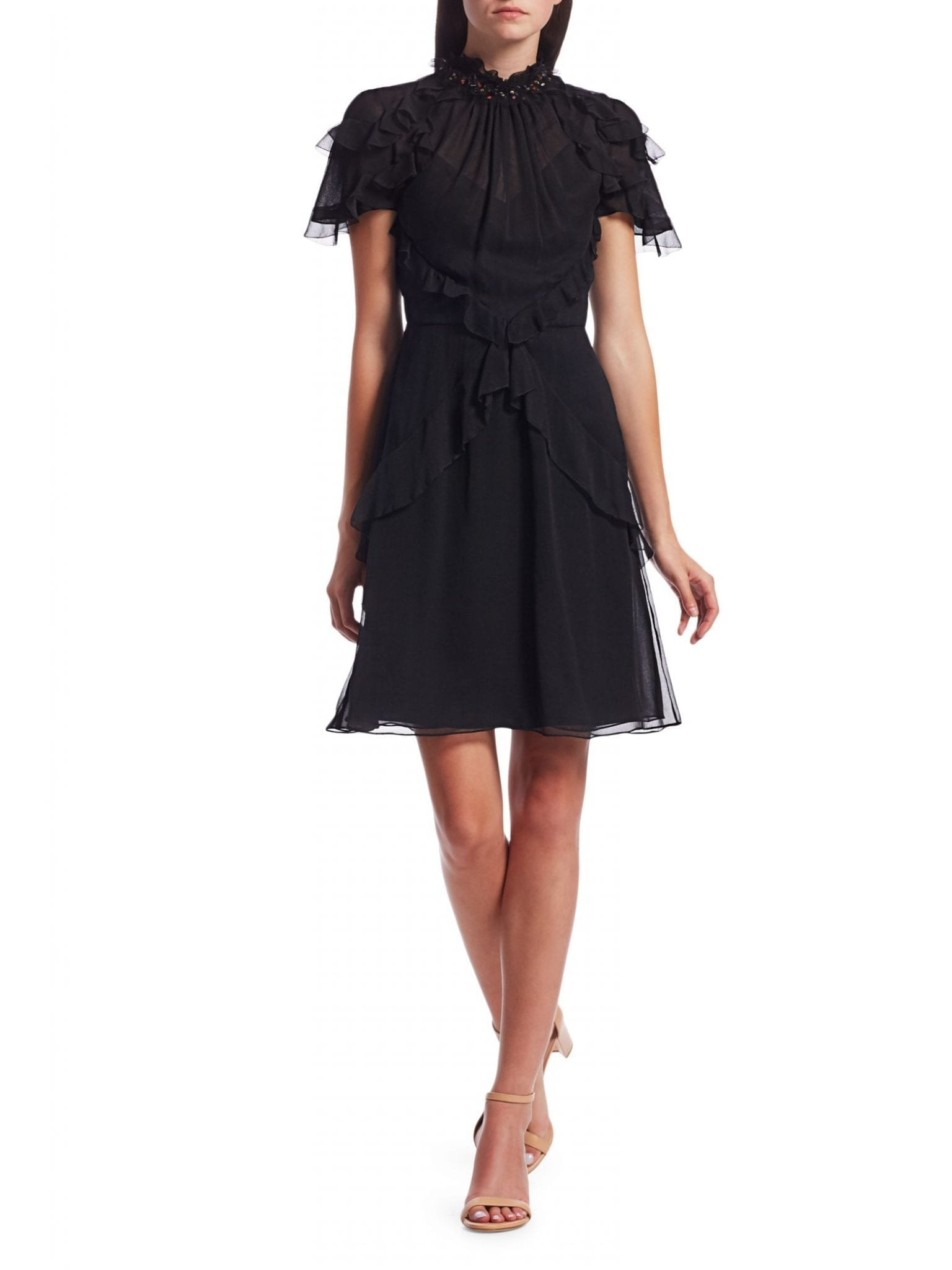 JASON WU COLLECTION Embellished Ruffle Silk Chiffon Dress