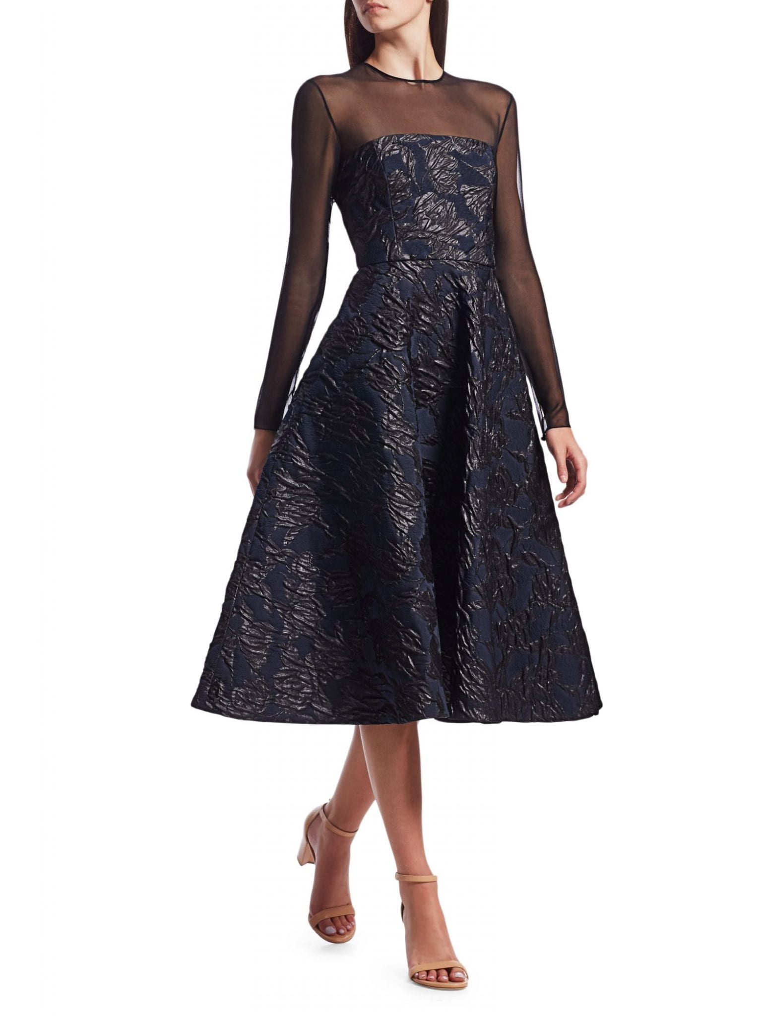JASON WU COLLECTION Embossed Tulle Cocktail Dress