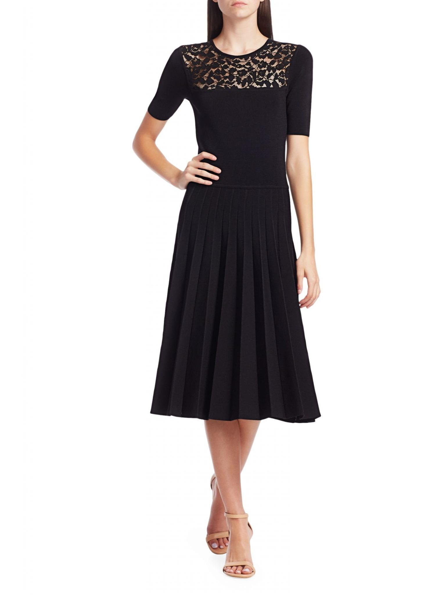 JASON WU COLLECTION Lace-Trimmed Knit Midi Dress