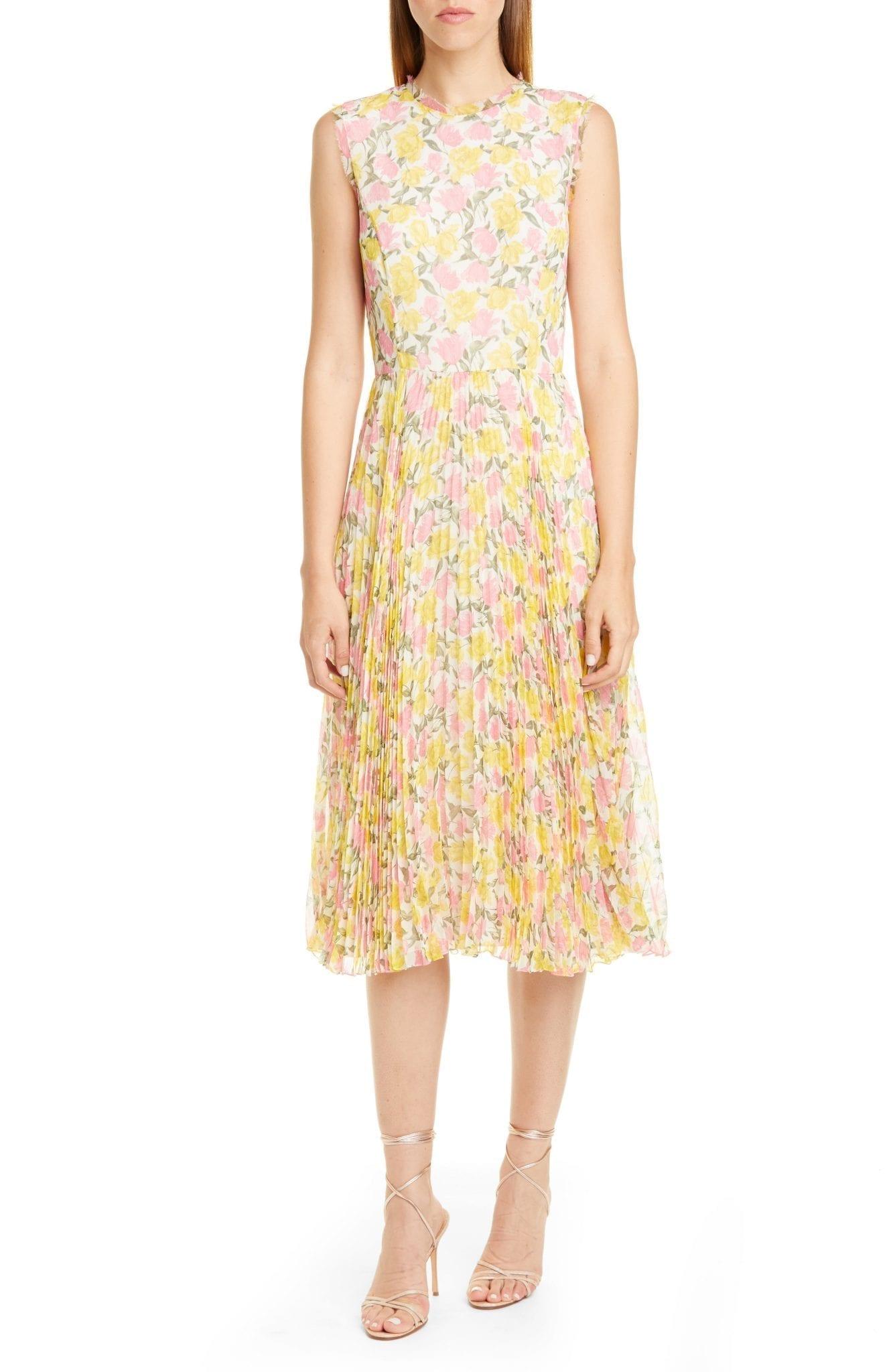 JASON WU COLLECTION Pleated Floral Chiffon Midi Dress