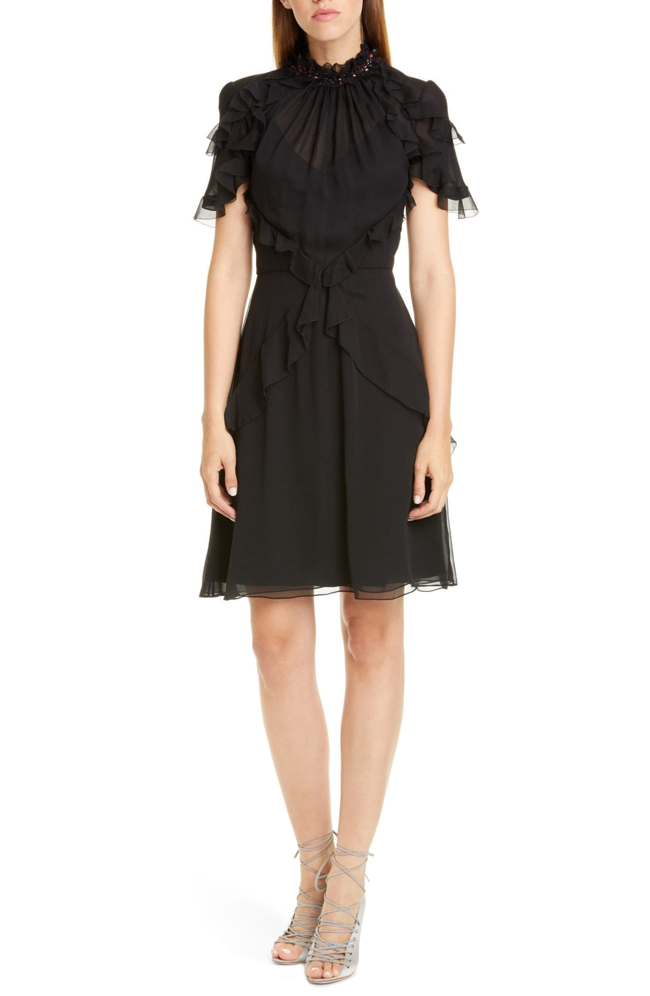 JASON WU COLLECTION Sequin Neck Ruffle Silk Chiffon Dress