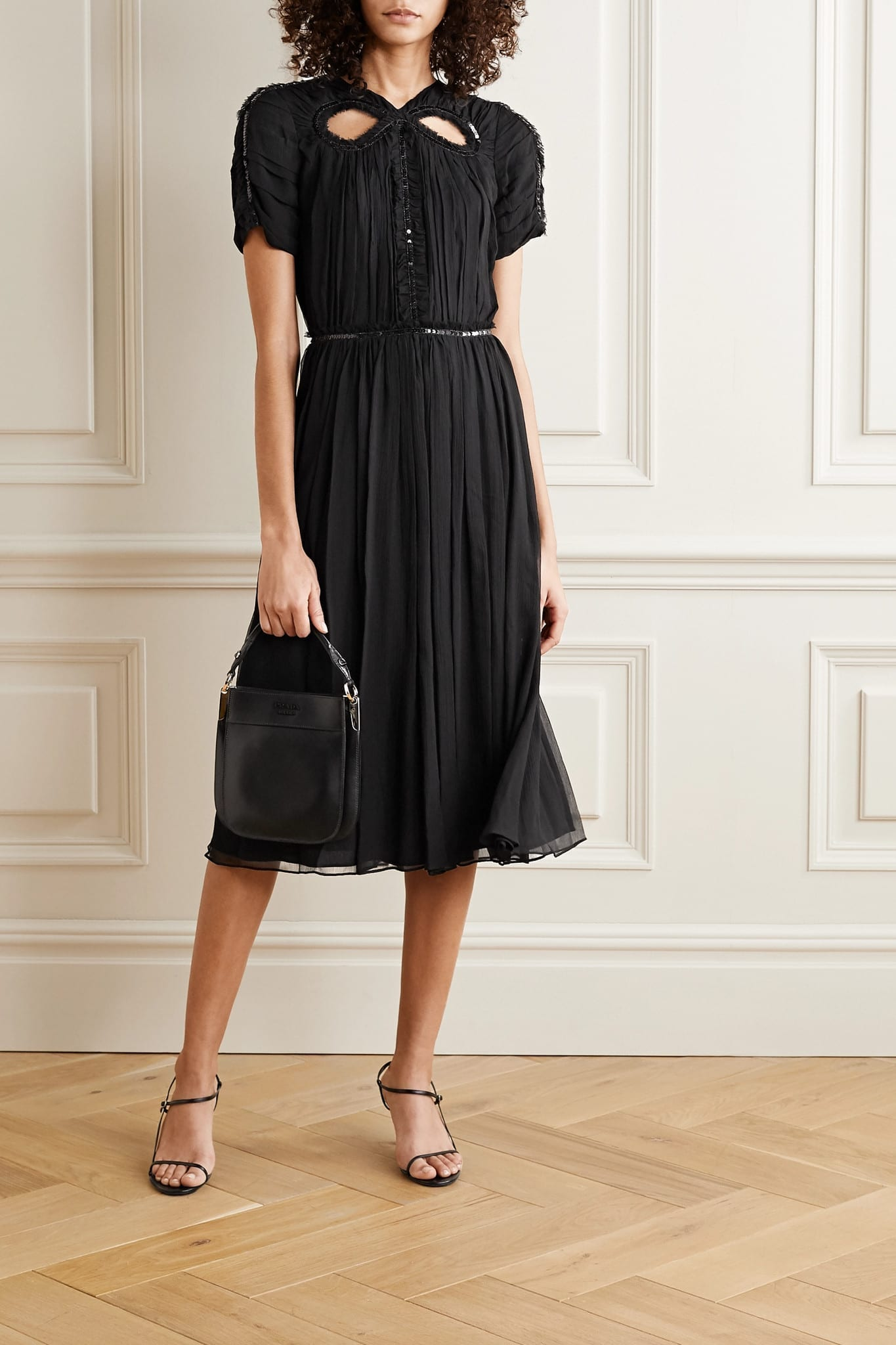 JASON WU Cutout Sequin-embellished Silk-georgette Dress