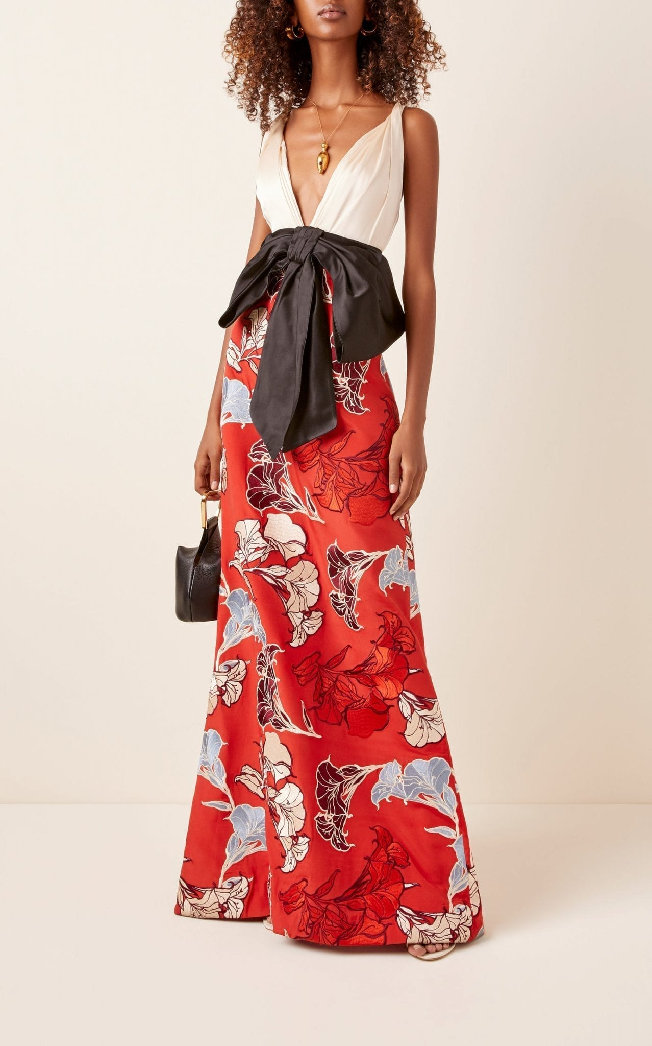 JOHANNA ORTIZ Floral-Embroidered Jacquard Gown