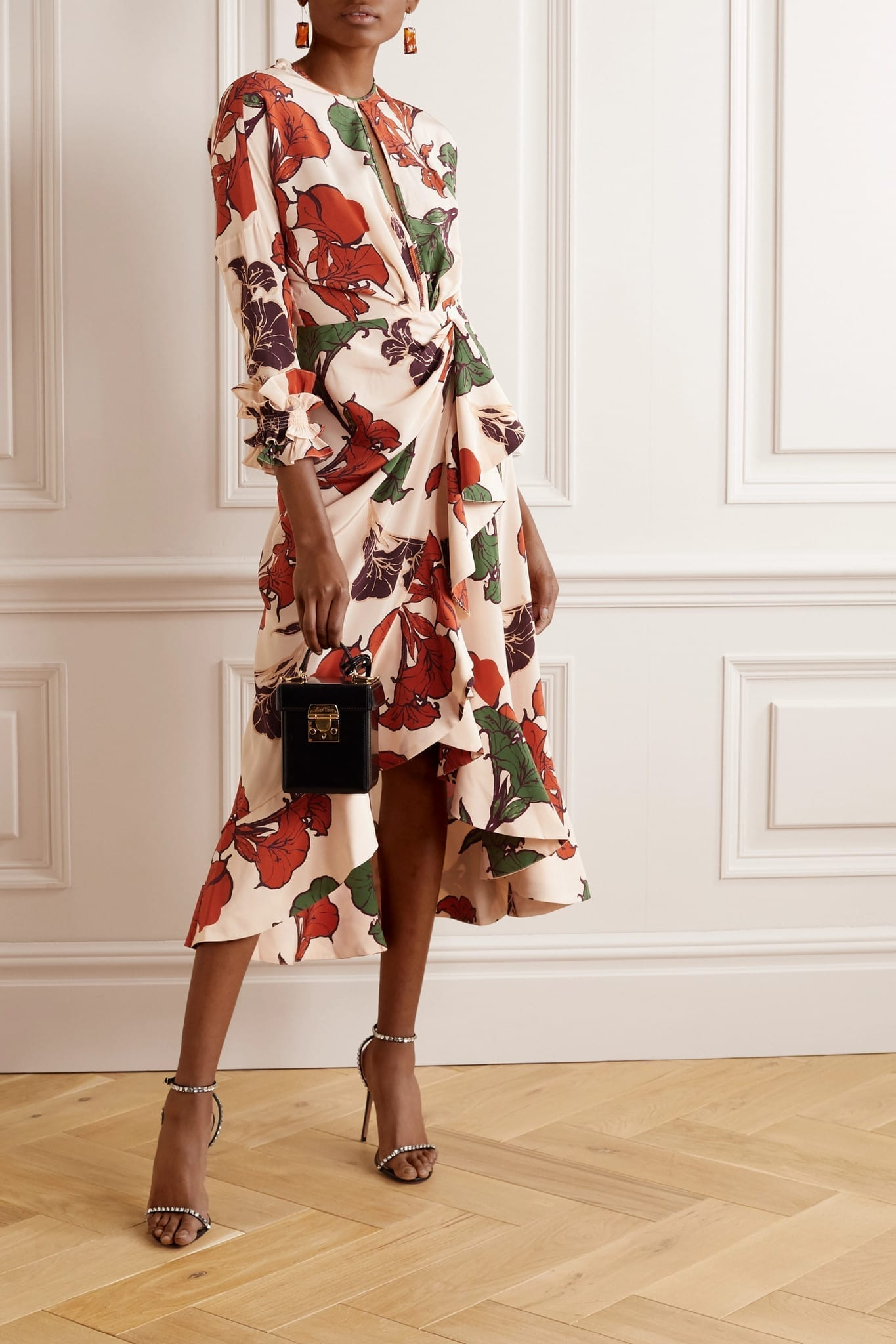 JOHANNA ORTIZ Wrap-effect Ruffled Floral-print Silk Crepe De Chine Midi Dress
