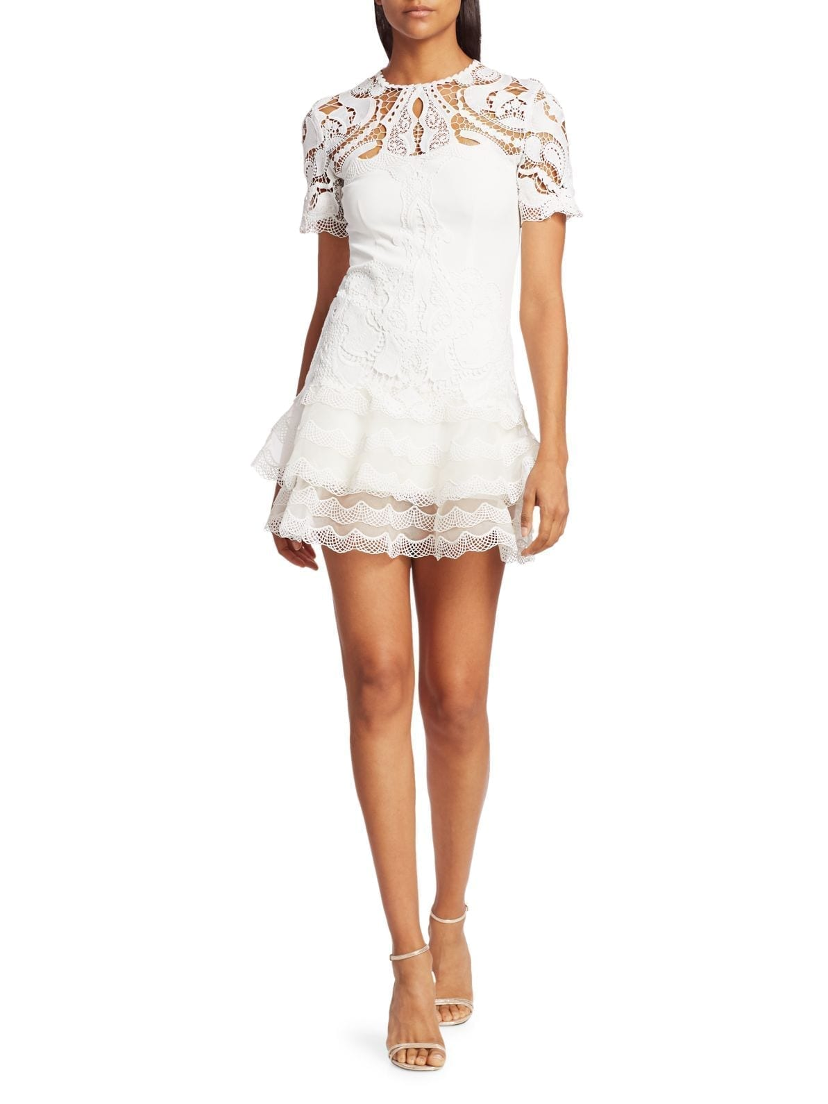 JONATHAN SIMKHAI Lace Applique Illusion Mini Dress