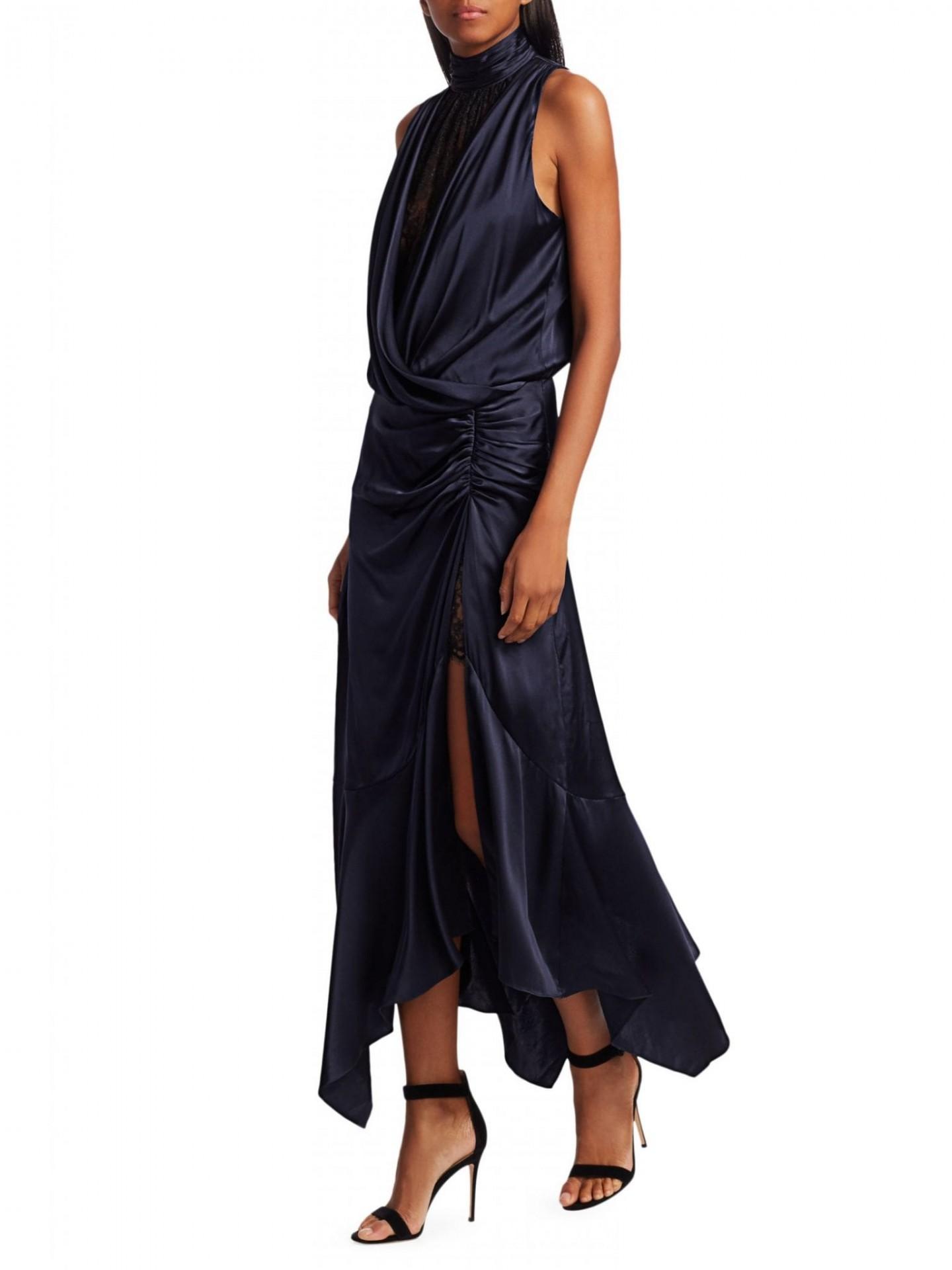 JONATHAN SIMKHAI Lace & Silk Side Slit Ruffle Hem Dress